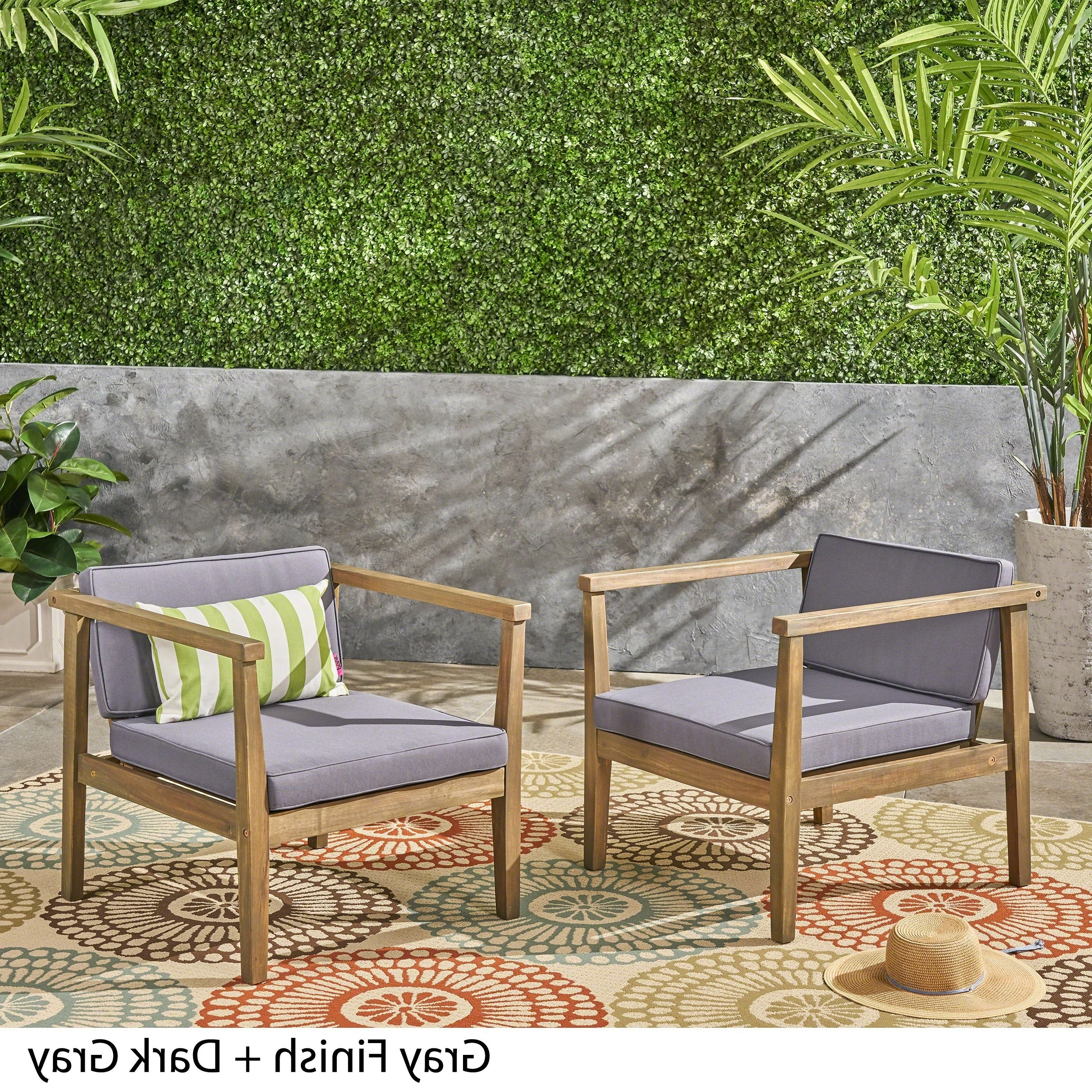 Newbury Patio Sofas With Cushions Throughout Popular Newbury Outdoor Acacia Wood Club Chairs With Cushions (Set Of 2) Christopher Knight Home (View 18 of 20)