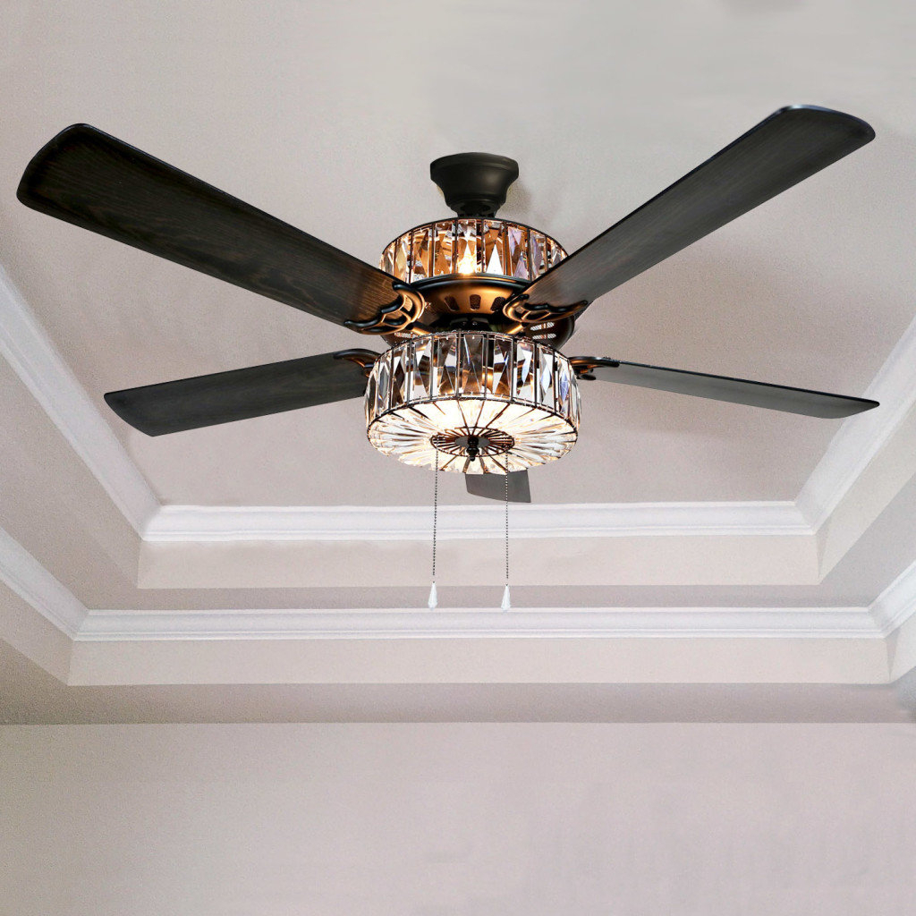 Featured Photo of Caged Crystal 5 Blade Ceiling Fans