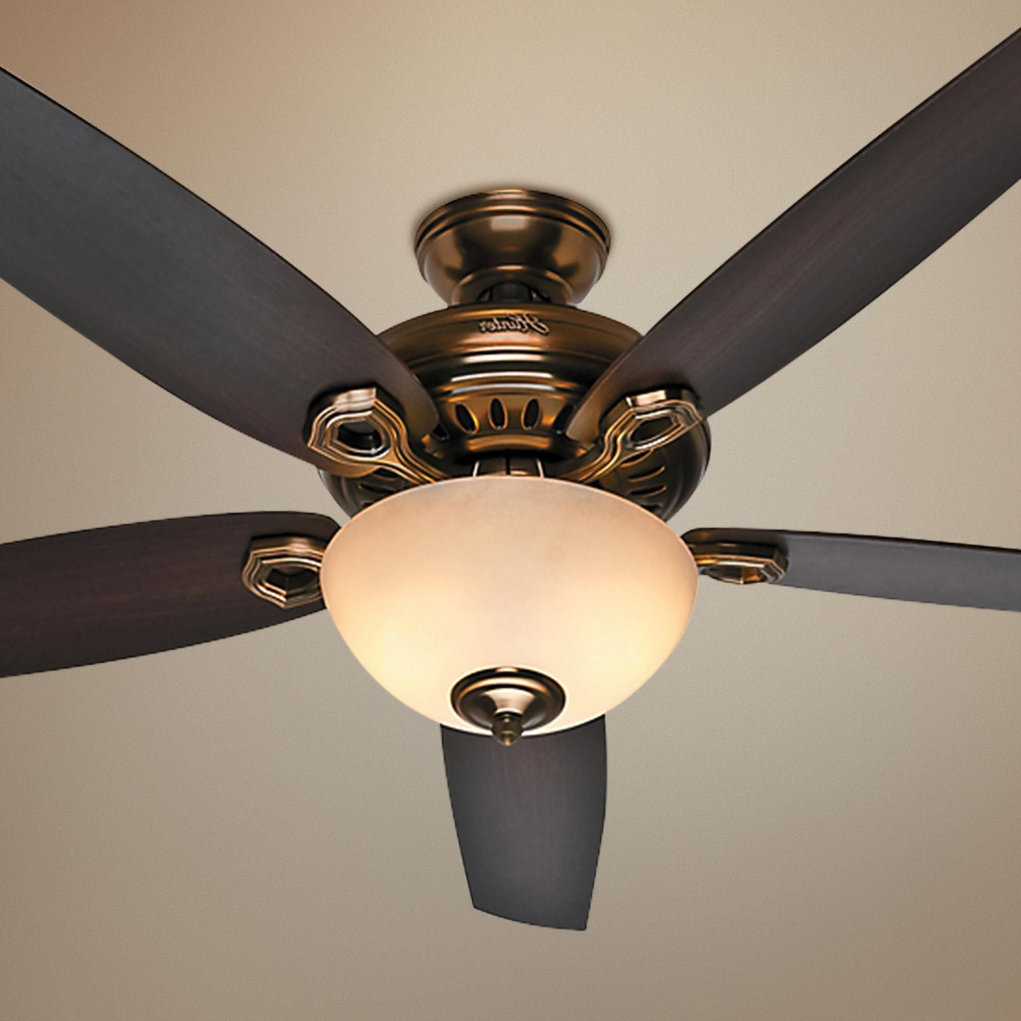 "Newest 60"" Hunter Valerian Bronze Patina Ceiling Fan (View 12 of 20)"