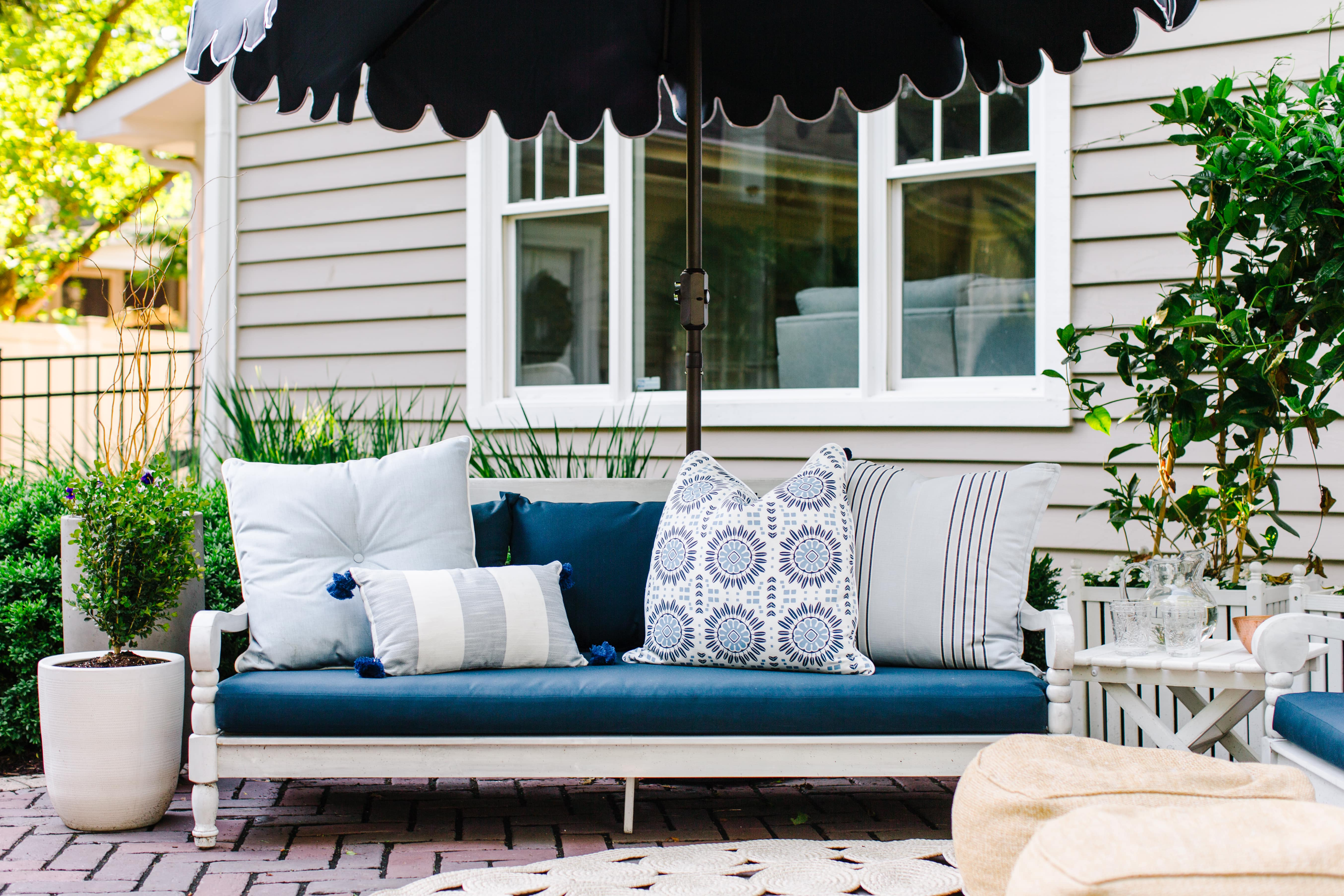 Newest Backyard Patio Update – The Art Of Living Pertaining To Roush Teak Patio Daybeds With Cushions (View 7 of 20)