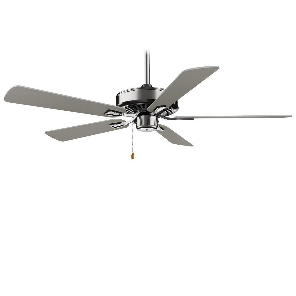 """Newest Brushed Nickel Contractor Plus 52"""" 5 Blade Ceiling Fan W/silver Blades (View 7 of 20)"""