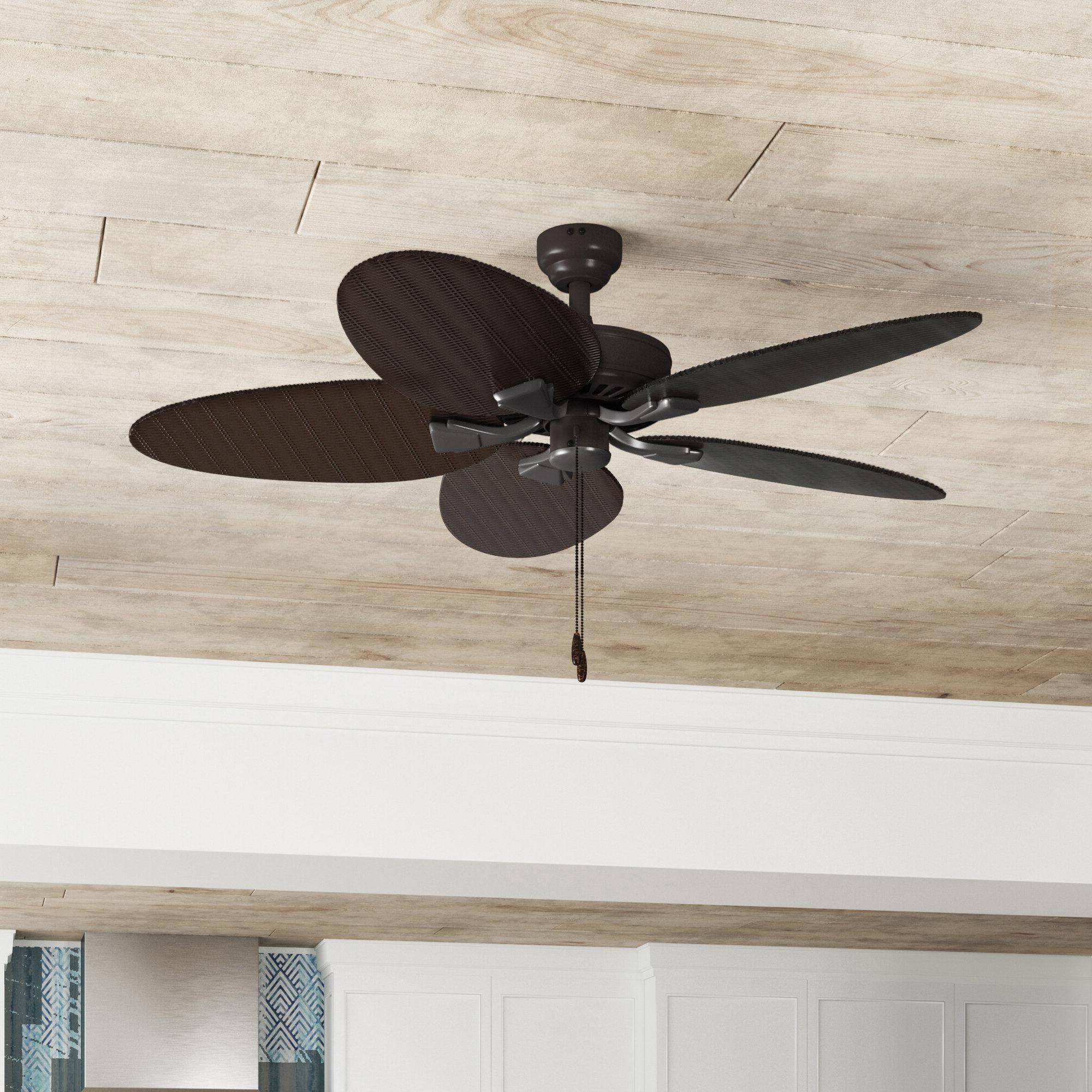 """Newest Caribbean Breeze 5 Blade Ceiling Fans Regarding 48"""" Kalea 5 Blade Outdoor Ceiling Fan (View 15 of 20)"""