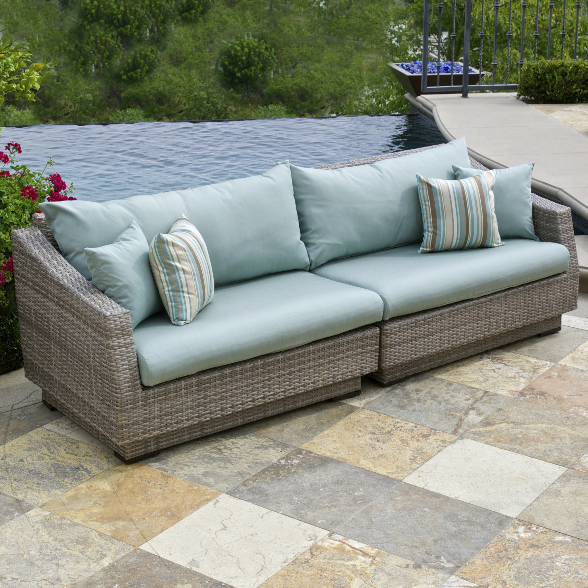 Newest Castelli Patio Sofas With Sunbrella Cushions Inside Castelli Patio Sofa With Sunbrella Cushions (View 17 of 20)