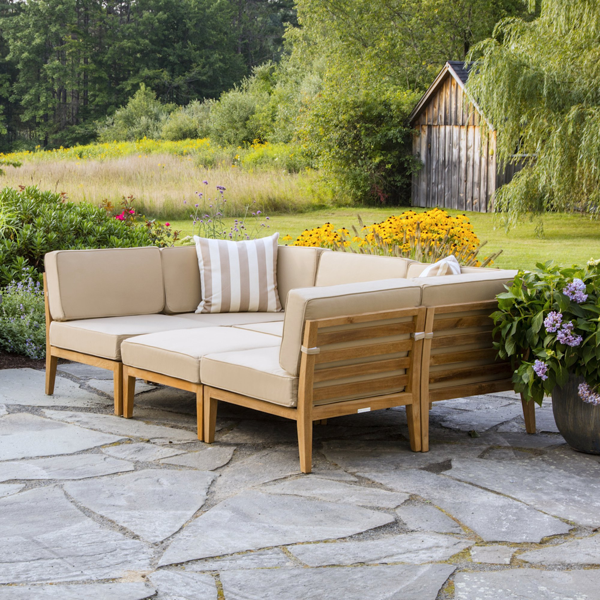 Newest Clary Teak Lounge Patio Daybeds With Cushion Intended For Bali Teak Patio Sectional With Cushions (View 14 of 20)