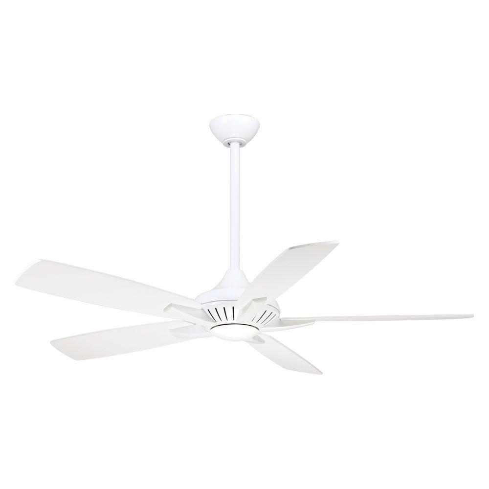 Newest Dyno Led 52 Inch Led Ceiling Fan In White Finish W/white Blades – N/a With Dyno 5 Blade Ceiling Fans (View 16 of 20)