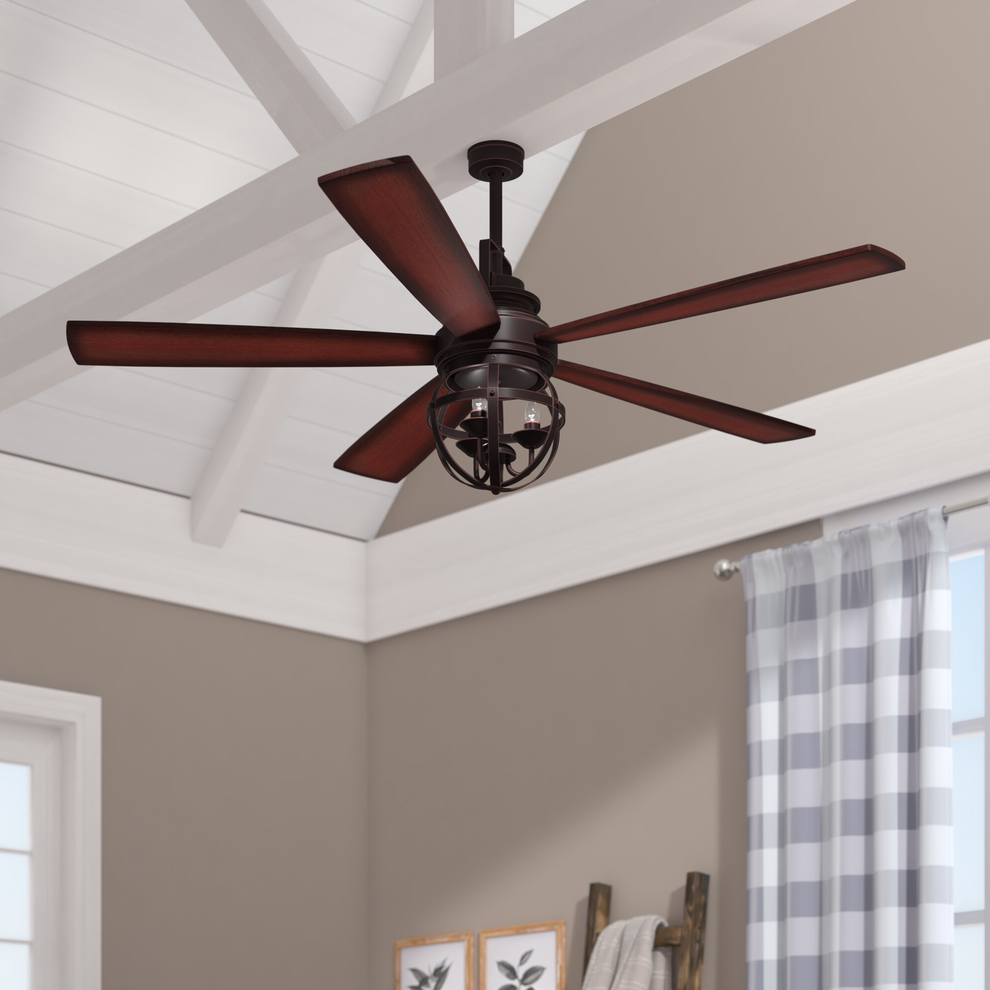 """Newest Gracie Oaks 52"""" Genna 5 Blade Led Ceiling Fan With Remote For Ravello 5 Blade Led Ceiling Fans (View 12 of 20)"""
