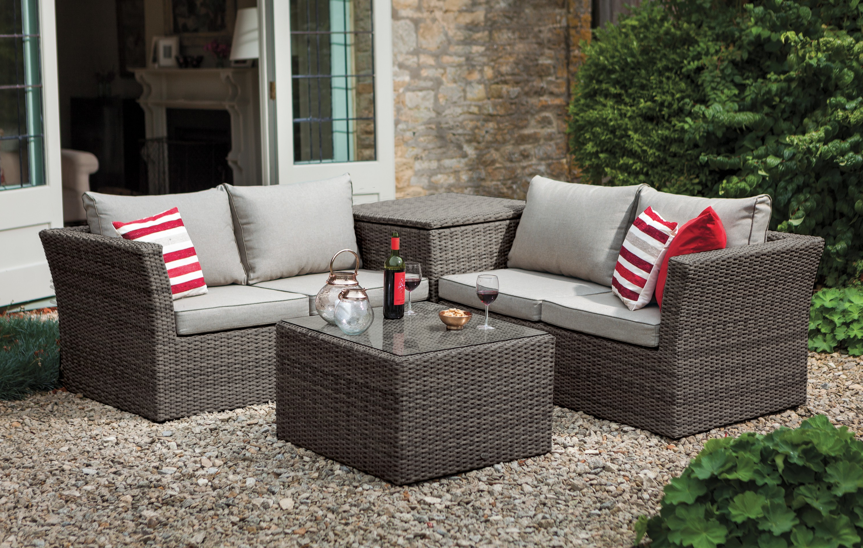 Newest Hartman Appleton Corner Set With Cushion Storage (Slate/stone) Pertaining To Rowley Patio Sofas Set With Cushions (View 7 of 20)