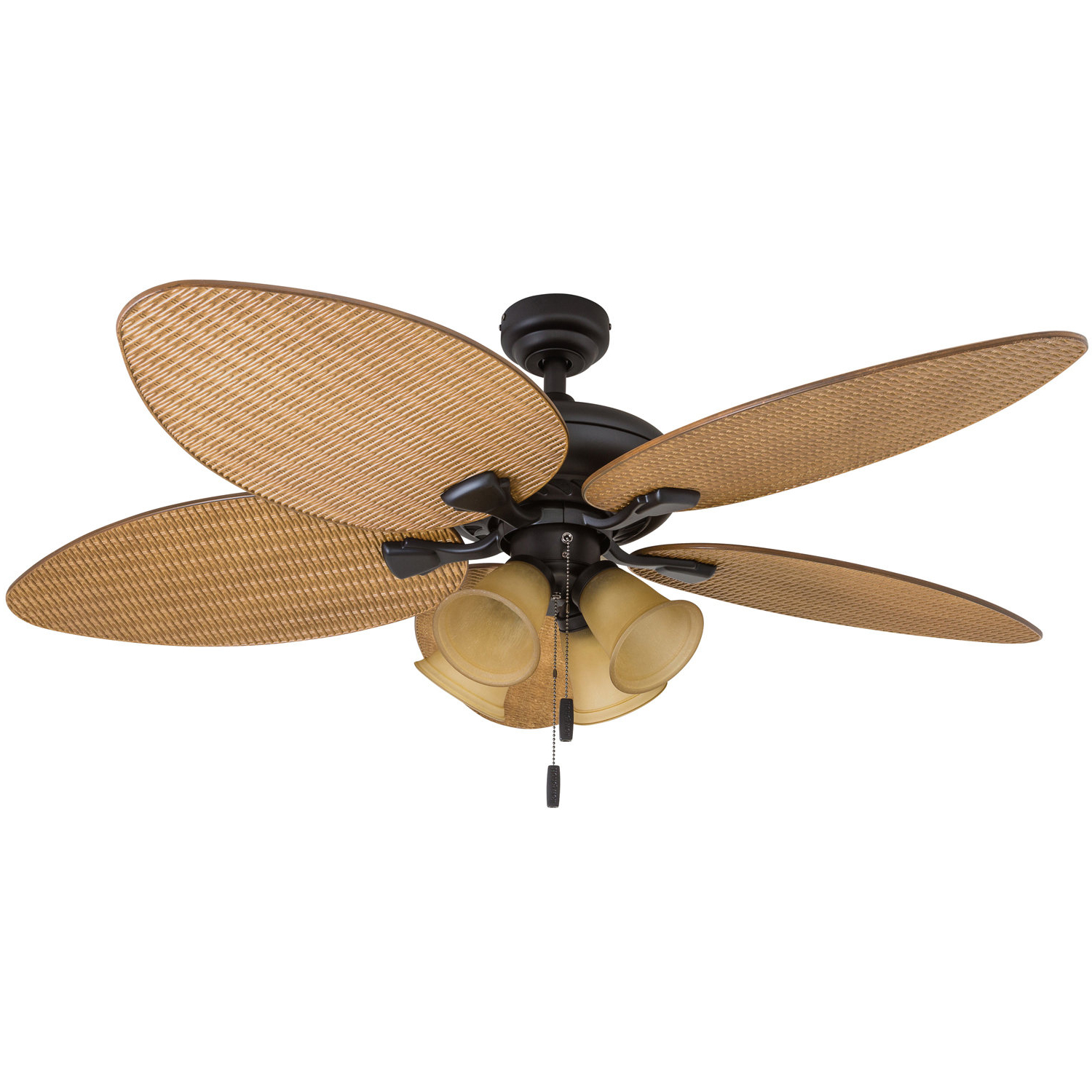 "Newest Kalea 5 Blade Outdoor Ceiling Fans Inside 52"" Mccall Tropical 5 Blade Led Ceiling Fan (View 17 of 20)"