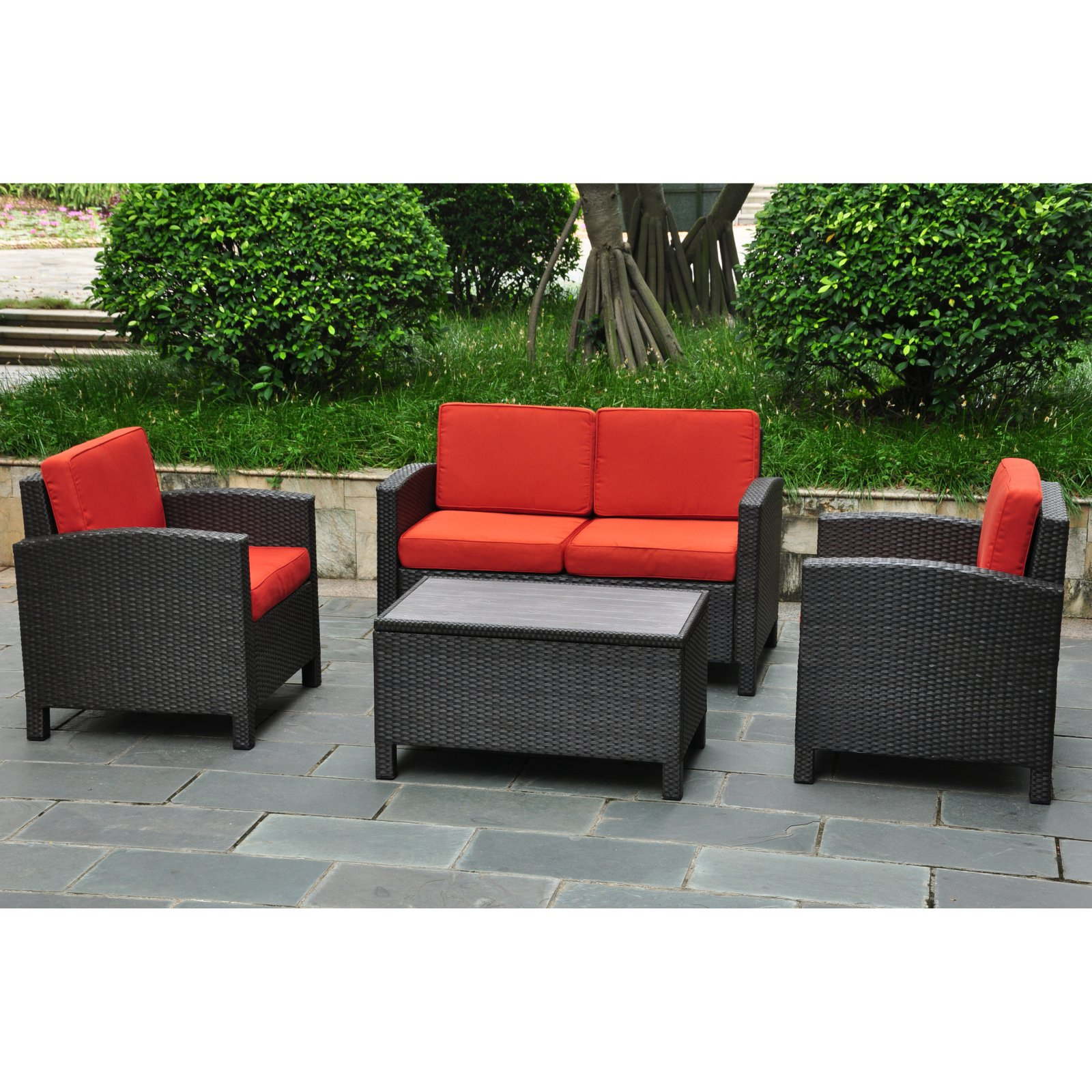 Newest Katzer Patio Sofas With Cushions With International Caravan Barcelona Resin Wicker Outdoor Patio (View 19 of 20)