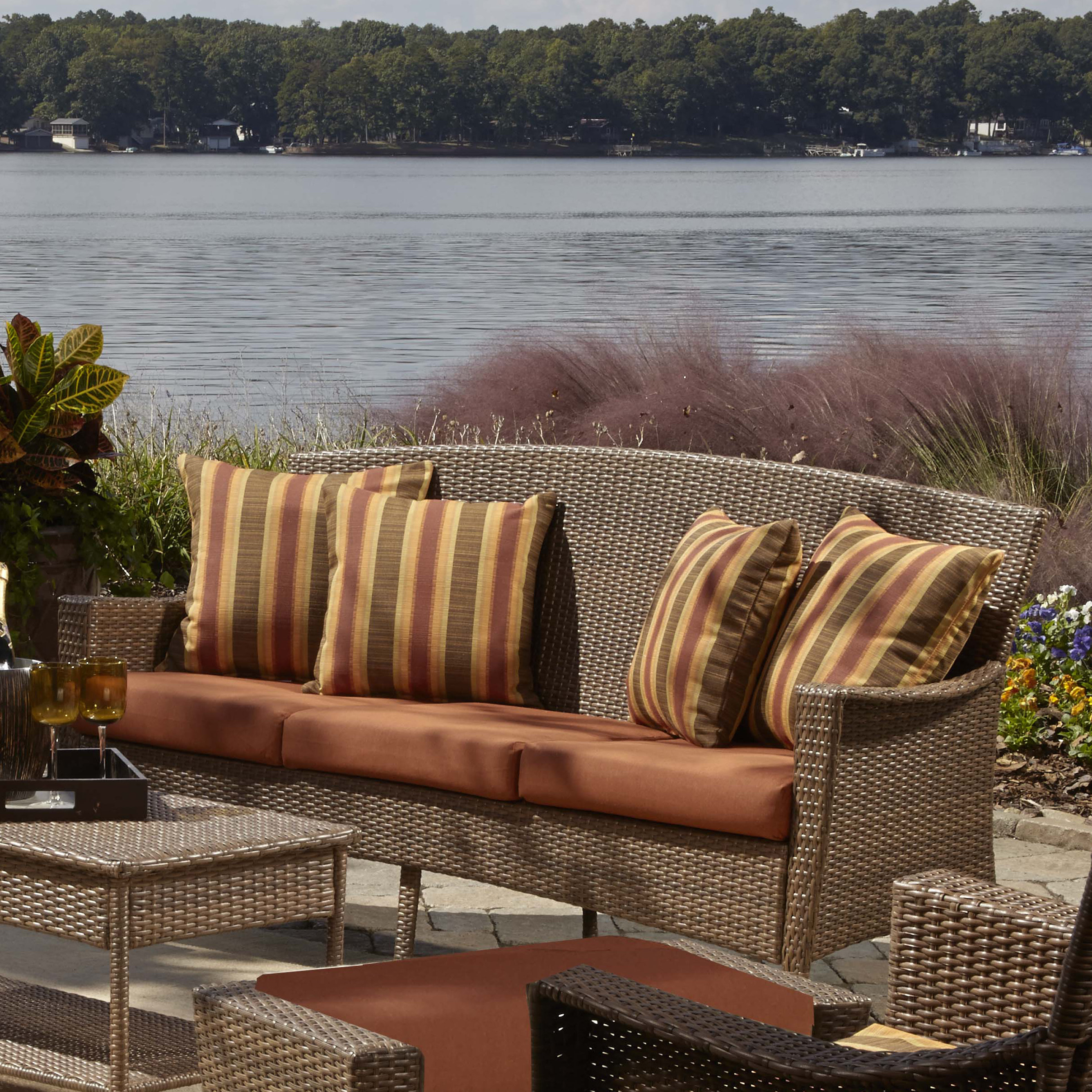 Newest Katzer Patio Sofas With Cushions Within Key Biscayne Patio Sofa With Cushions (View 17 of 20)