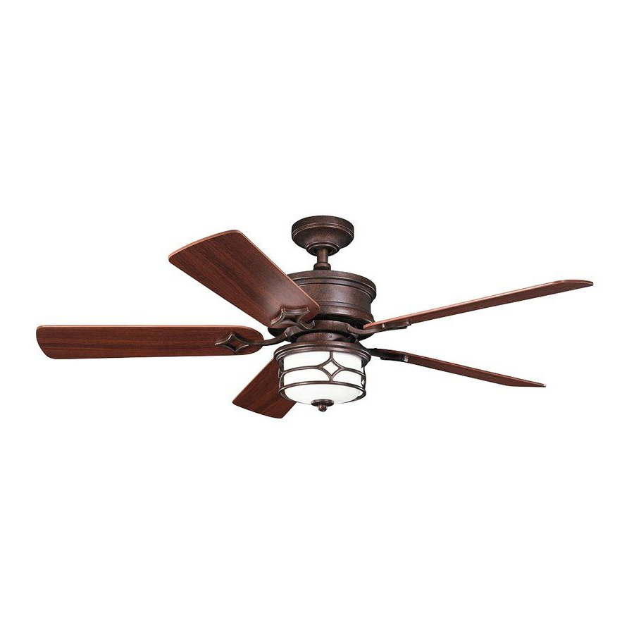 Newest Kichler Lighting Chicago 52 In Tannery Bronze/gold Downrod Inside Hamlett 5 Blade Ceiling Fans (View 13 of 20)
