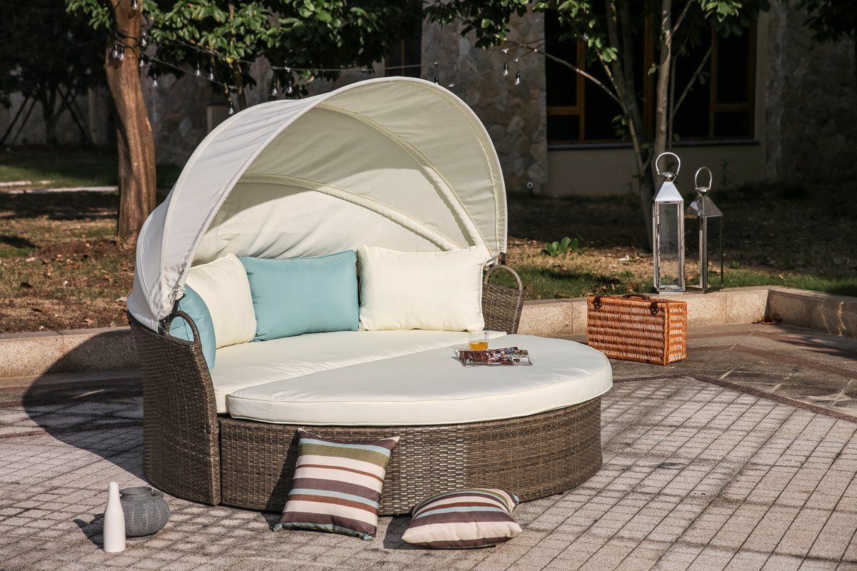 Newest Leiston Round Patio Daybeds With Cushions Pertaining To Harlow Patio Daybed With Cushions (View 10 of 20)
