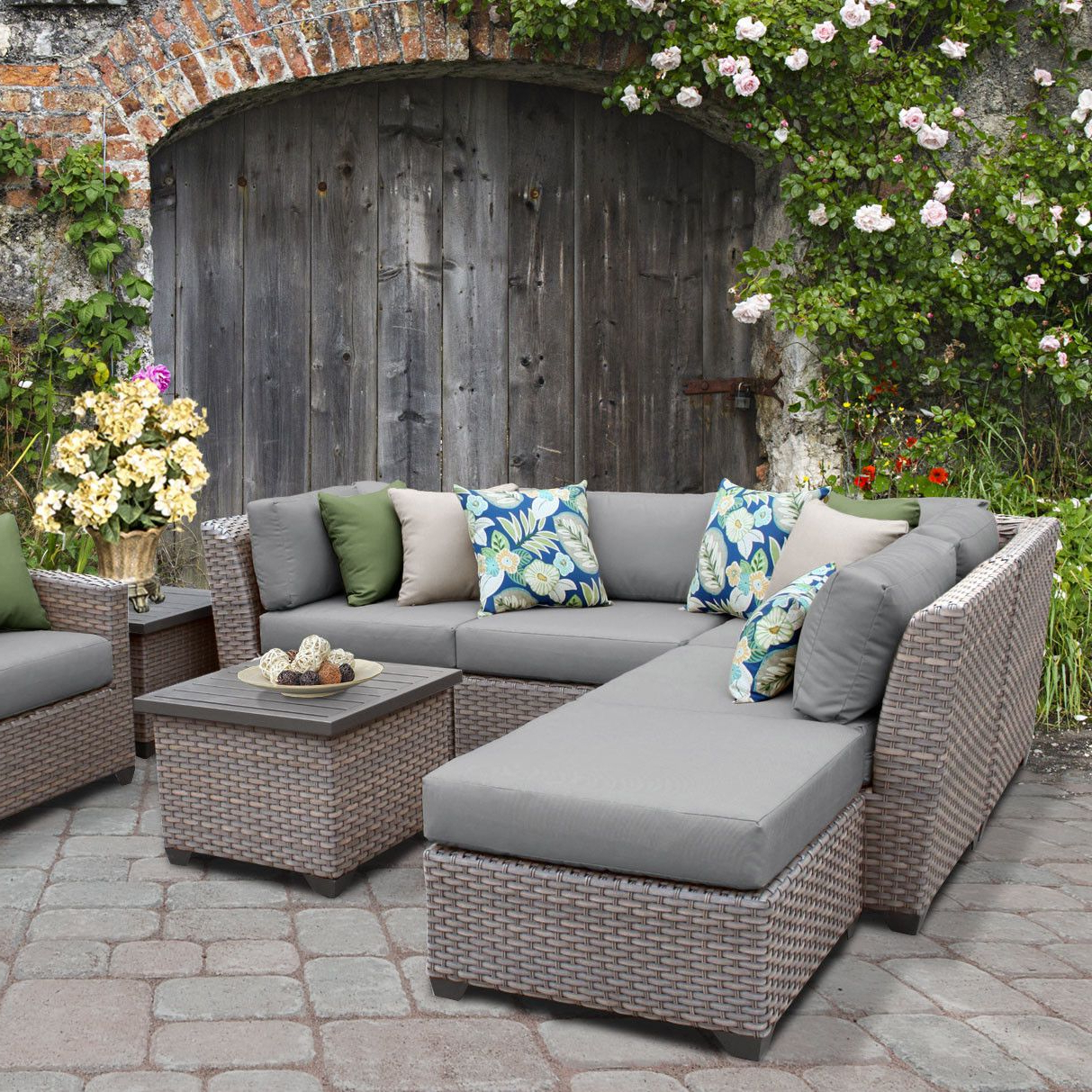 Newest Lorentzen Patio Sectionals With Cushions In Florence Outdoor Wicker 8 Piece Sectional Seating Group With (View 17 of 20)