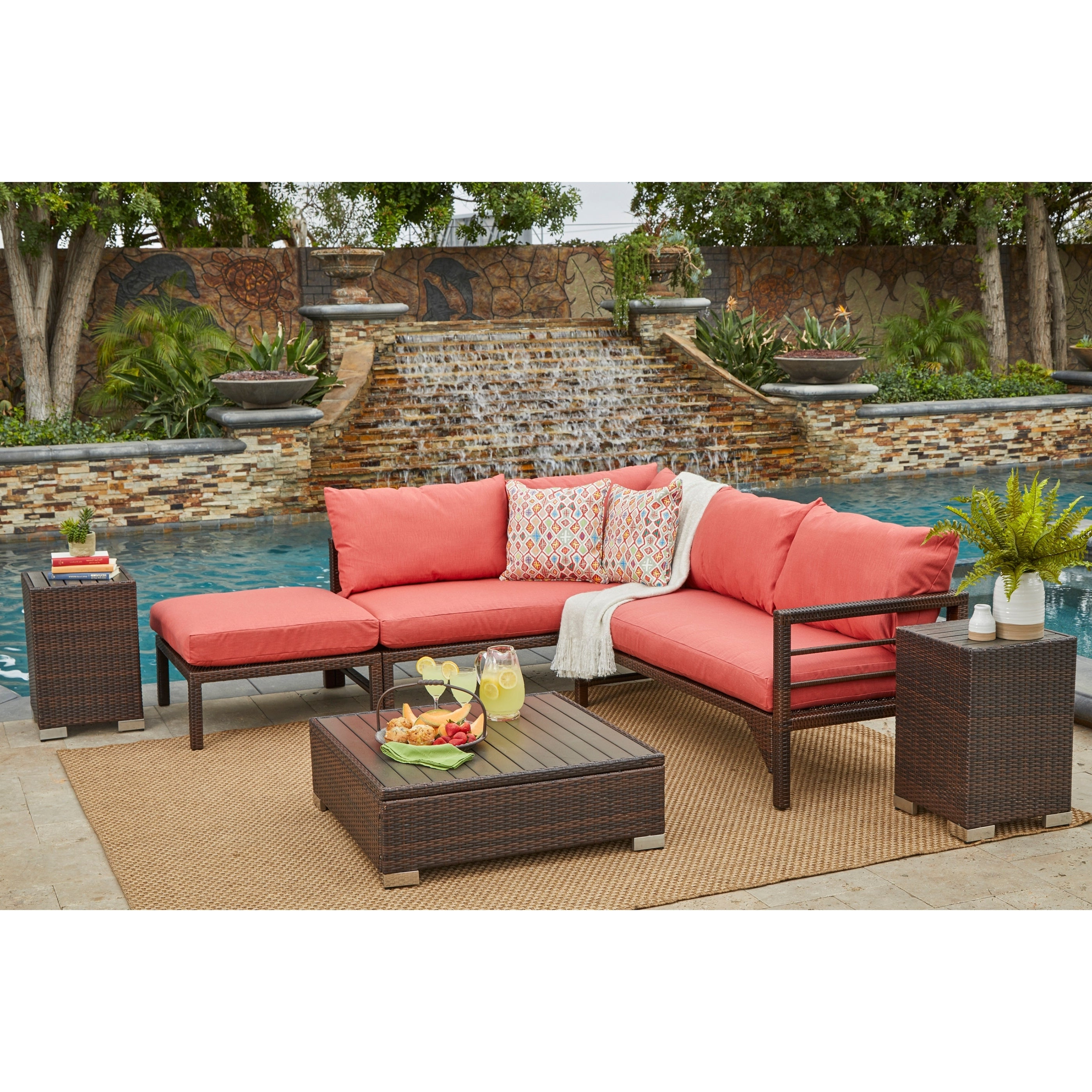 Newest Madison Avenue Patio Sectionals With Sunbrella Cushions With Havenside Home Stillwater Brown Indoor/outdoor Sectional Seating Group With  Coral Cushions (View 16 of 20)