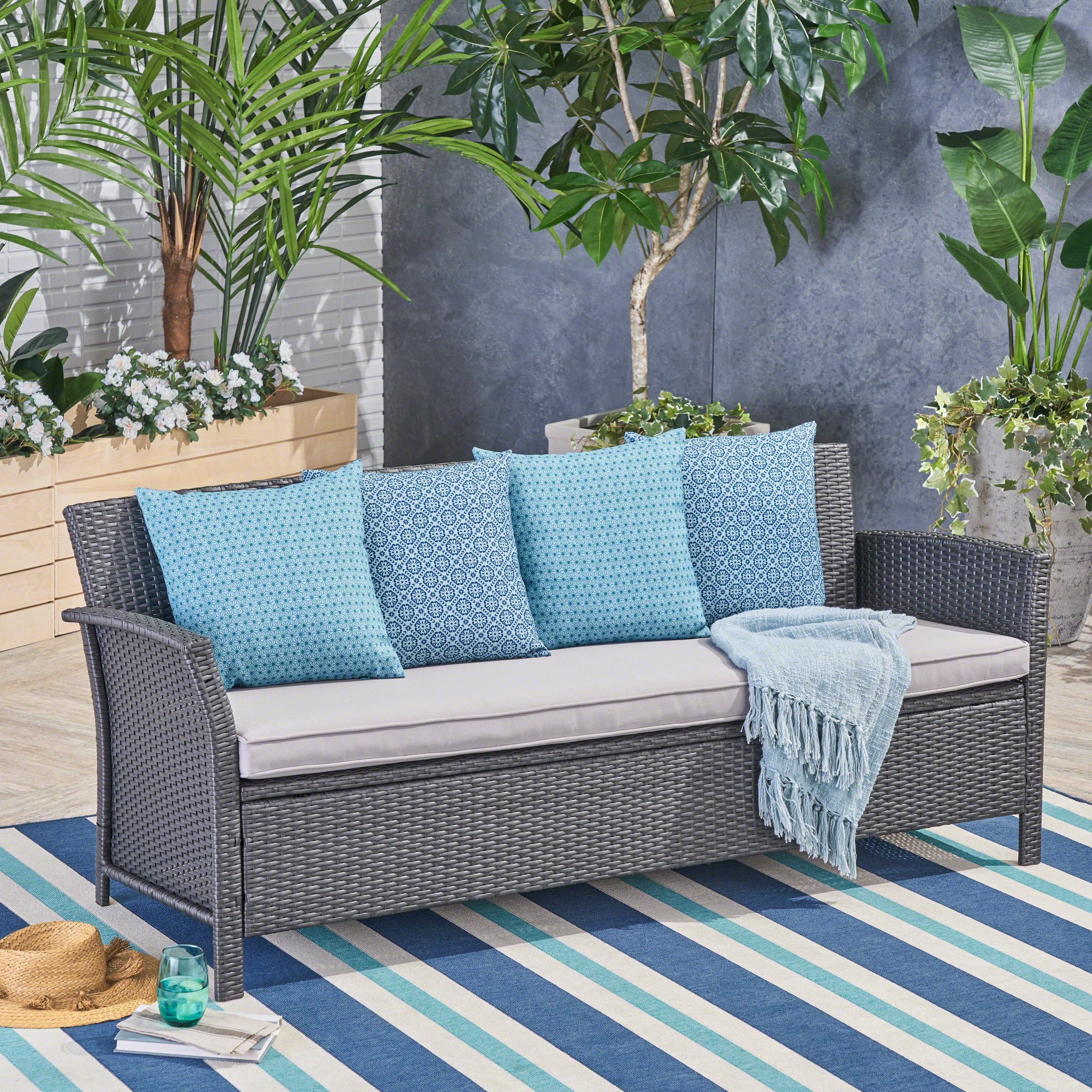 Newest Mullenax Outdoor Loveseats With Cushions With Regard To Corchado Patio Sofa With Cushion (View 13 of 20)