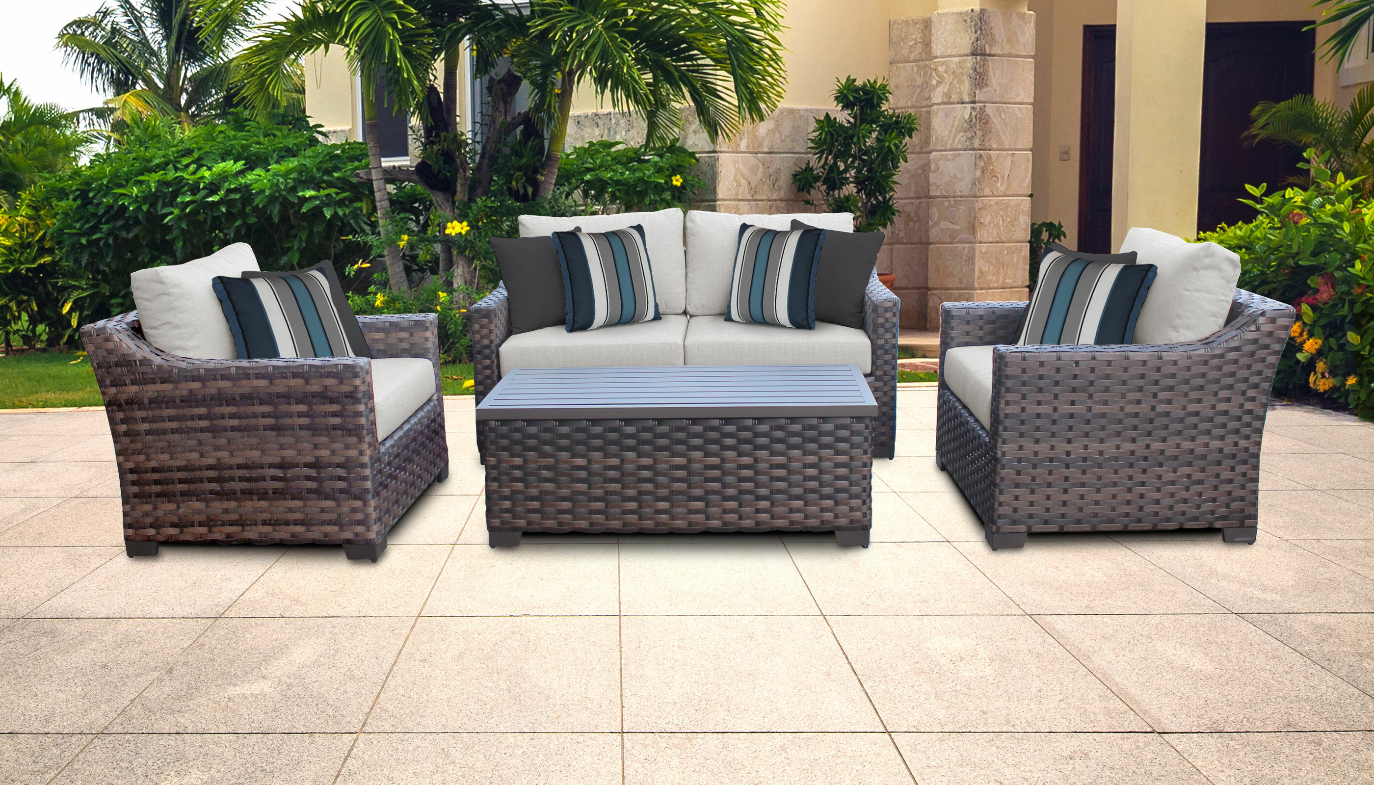 Newest Oreland Patio Sofas With Cushions Intended For Kathy Ireland Homes & Gardens River Brook 5 Piece Outdoor Wicker Patio Furniture Set 05c (View 19 of 20)