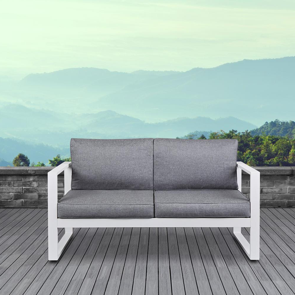 Newest Real Flame Baltic White Powder Coated Aluminum Outdoor Loveseat With Gray Cushions Pertaining To Baltic Loveseats With Cushions (View 2 of 25)
