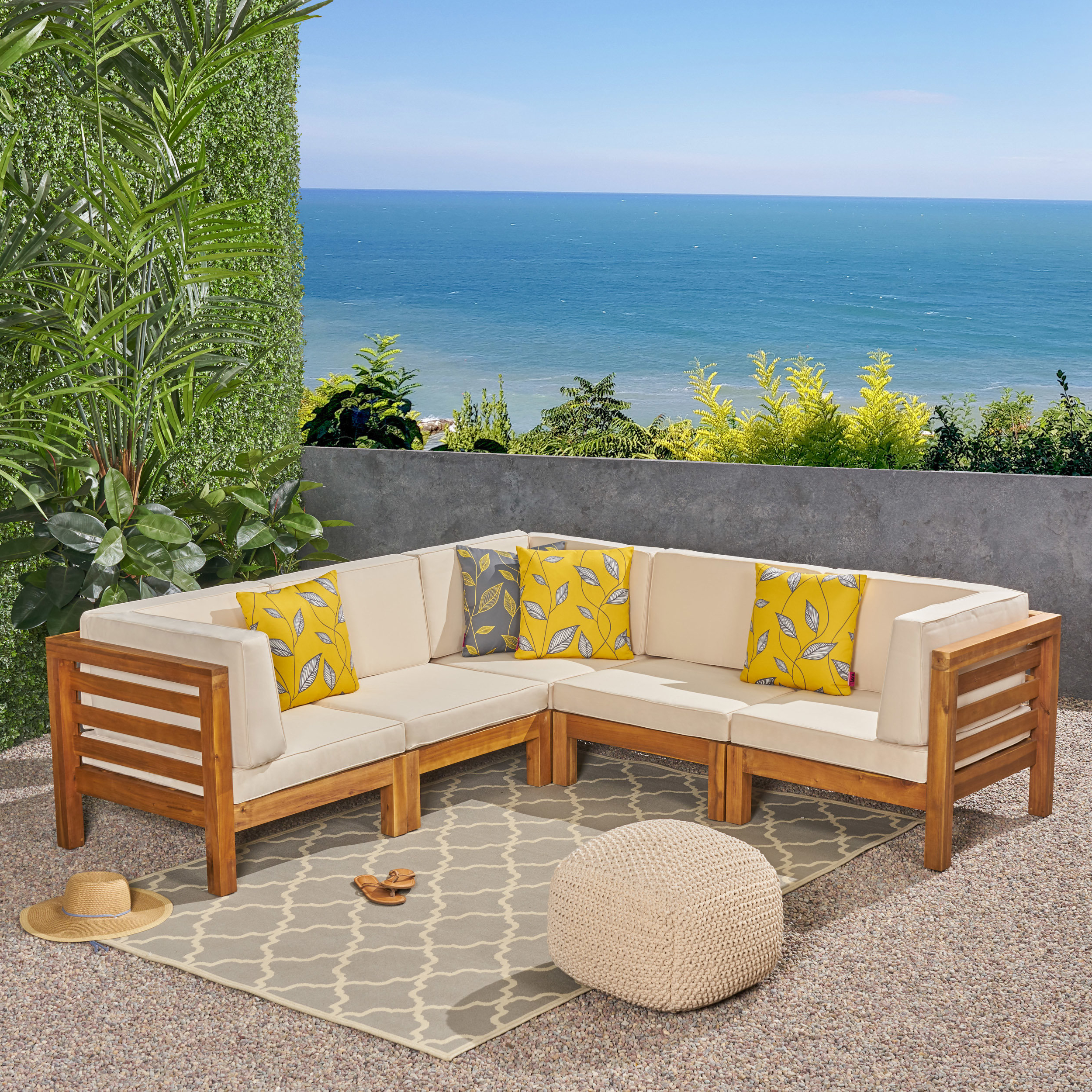 Newest Seaham Teak Patio Sectional With Cushions With Seaham Patio Sectionals With Cushions (View 7 of 20)