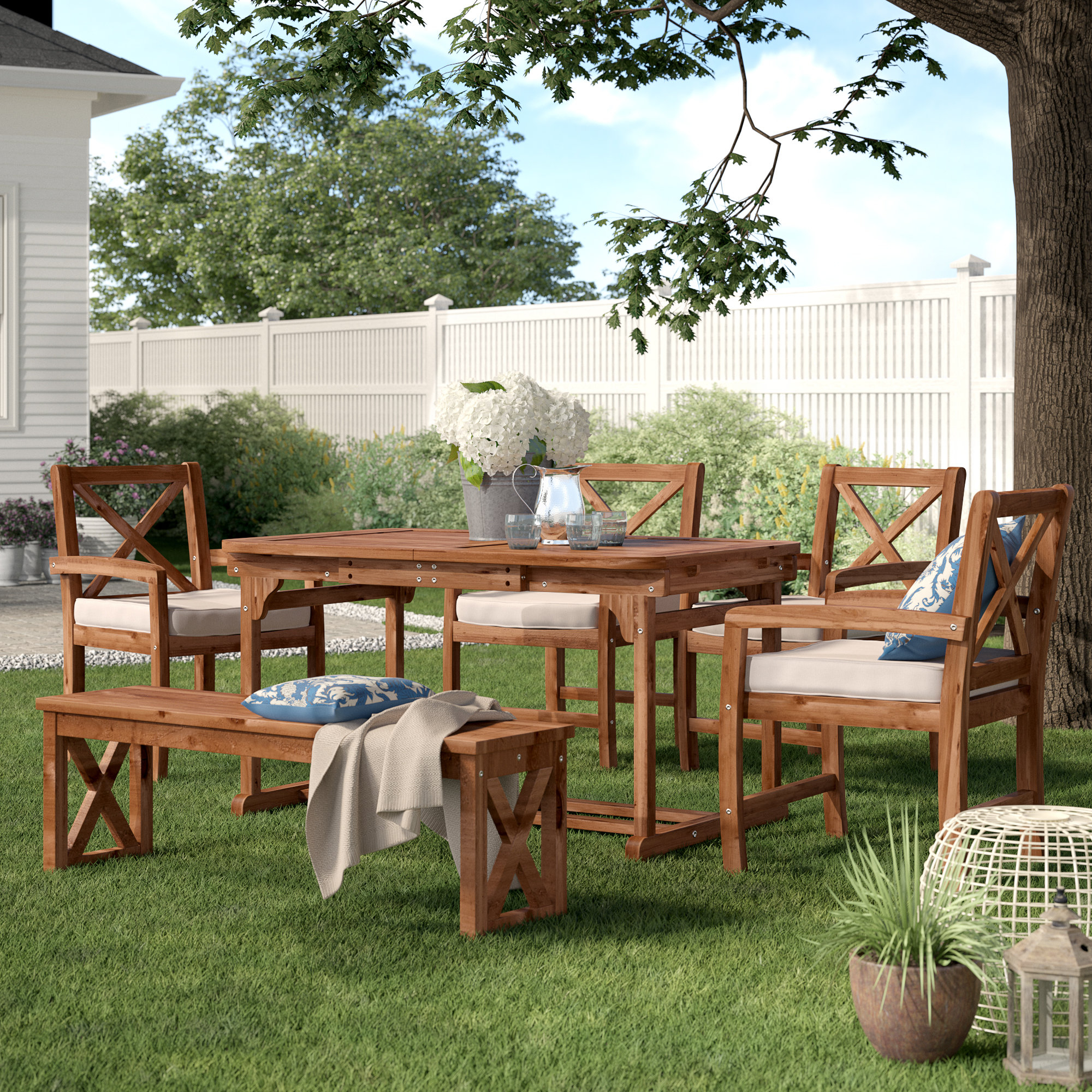 Newest Tim X Back 6 Piece Dining Set With Cushions Pertaining To Tim X Back Patio Loveseats With Cushions (View 4 of 20)
