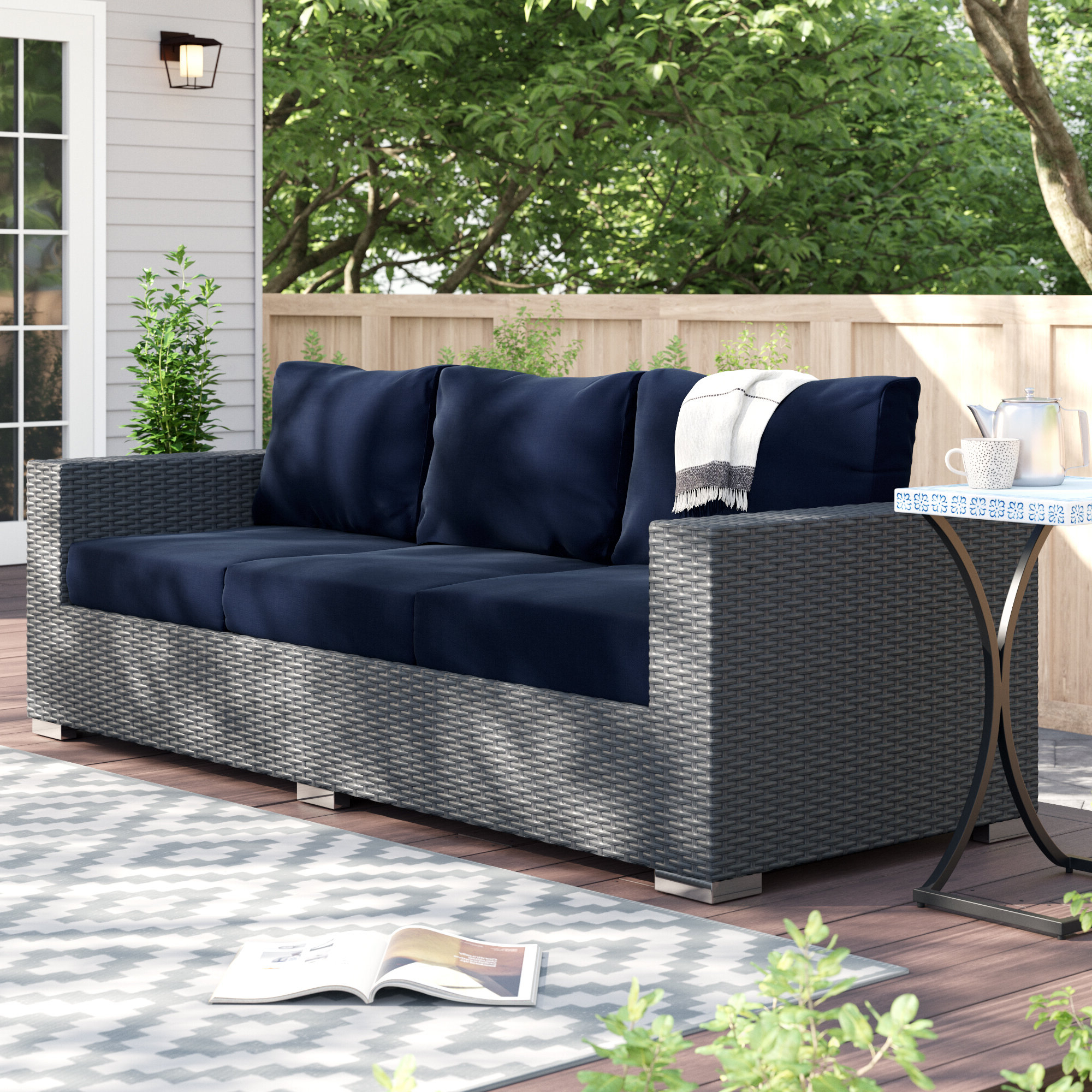 Newest Tripp Sofa With Cushions Within Wrobel Patio Sectionals With Cushion (View 8 of 20)