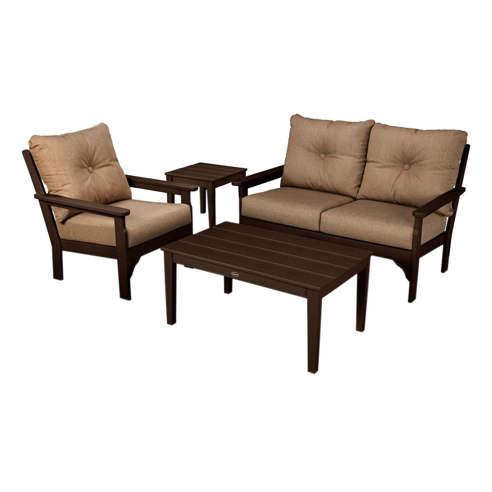 Newest Vineyard Deep Seating Sofas Within Polywood Vineyard Mahogany 4 Piece Plastic Patio Deep Seating Set With Sunbrella Sesame Cushions (View 16 of 20)