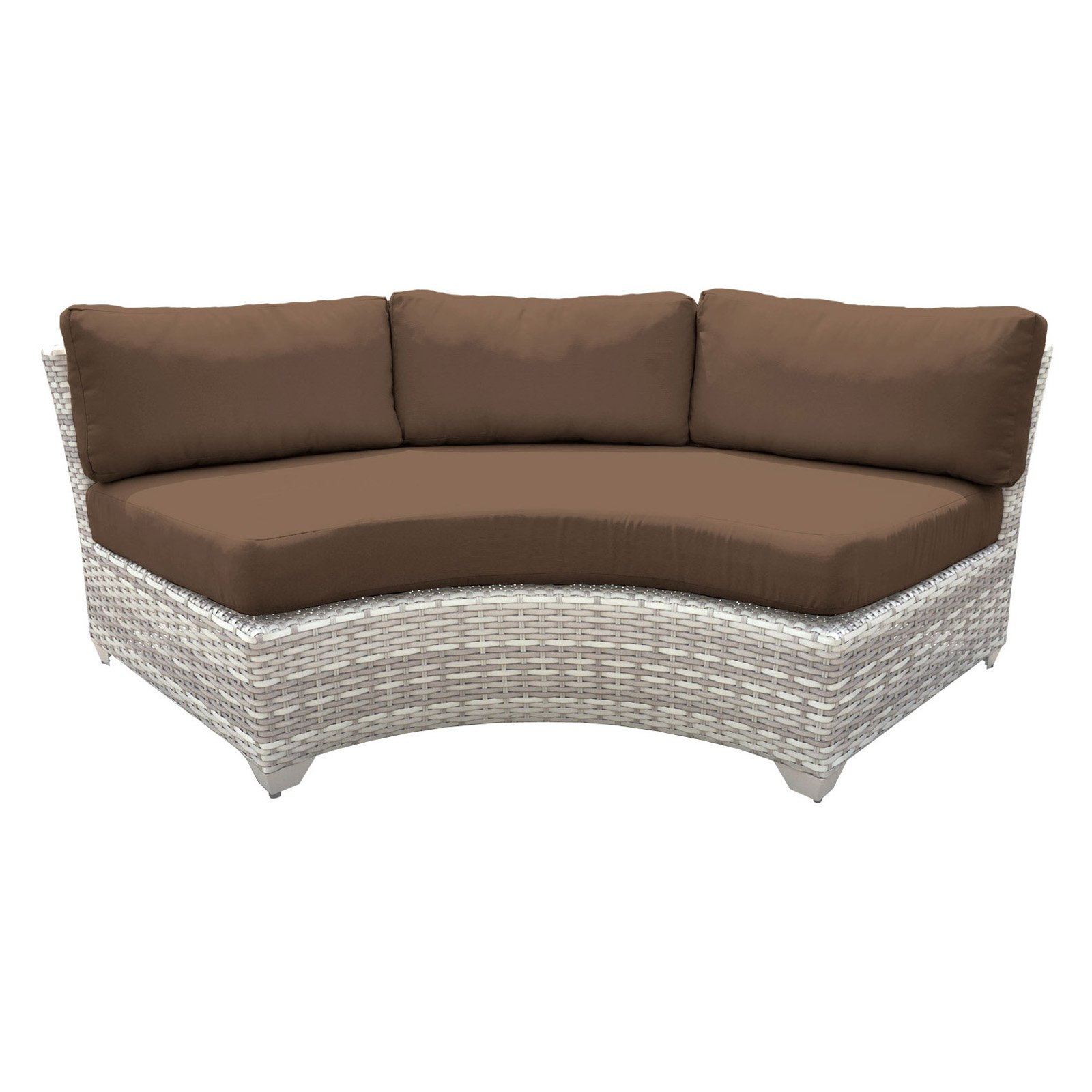 Newest Waterbury Curved Armless Sofa With Cushions Regarding Tk Classics Outdoor Wicker Curved Armless Sofa Sectional (View 8 of 20)