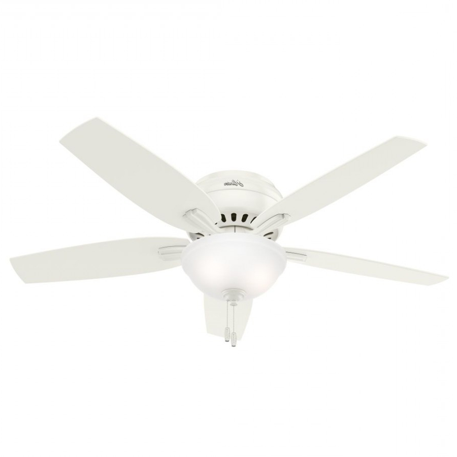 Newsome 5 Blade Ceiling Fans For Most Current Hunter 53313 Newsome 52 Inch 2 Light Ceiling Fan In White With 5 Fresh White Blade And Clear Frosted Glass (View 10 of 20)