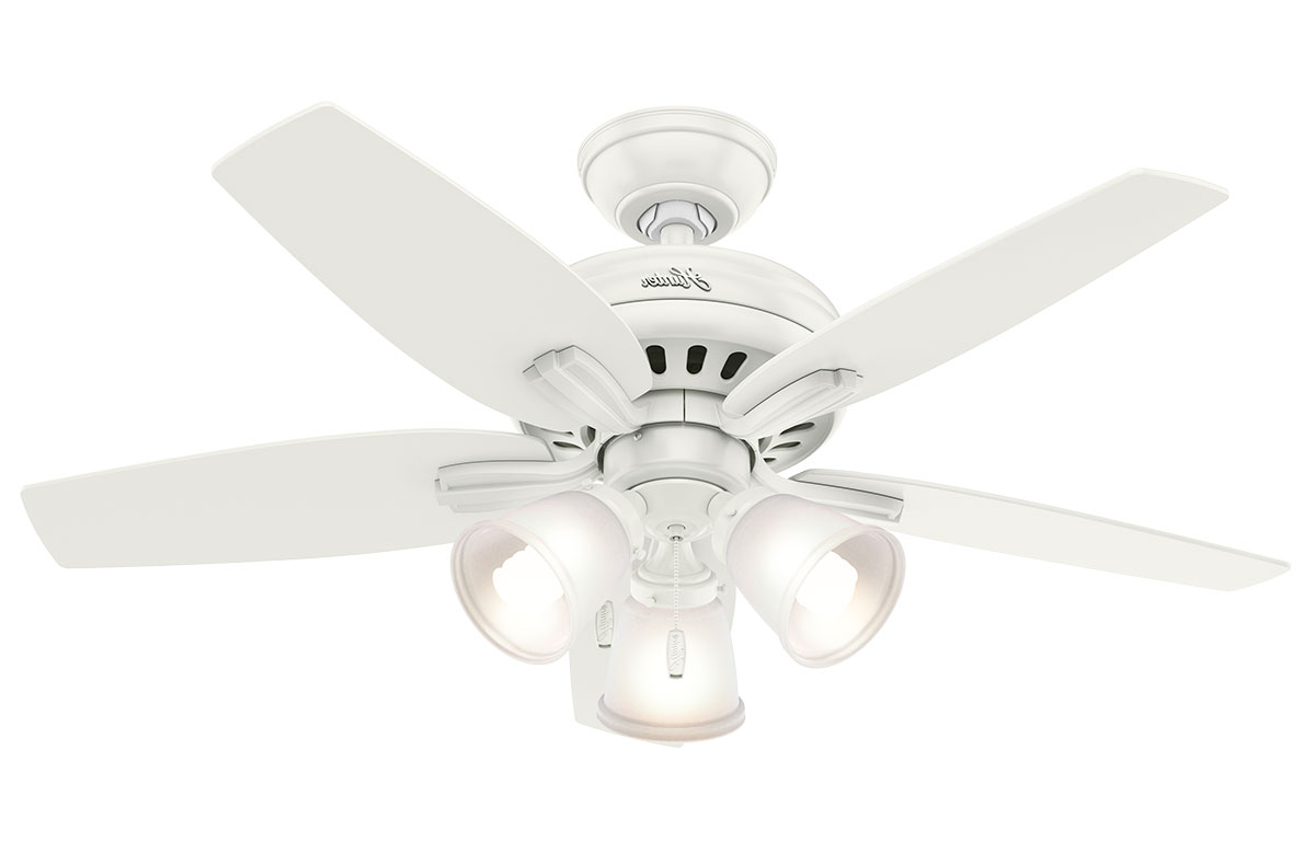 "Newsome Low Profile 5 Blade Ceiling Fans With Most Recent Hunter Newsome 42"" Fresh White Ceiling Fan With 3 Light (Gallery 20 of 20)"
