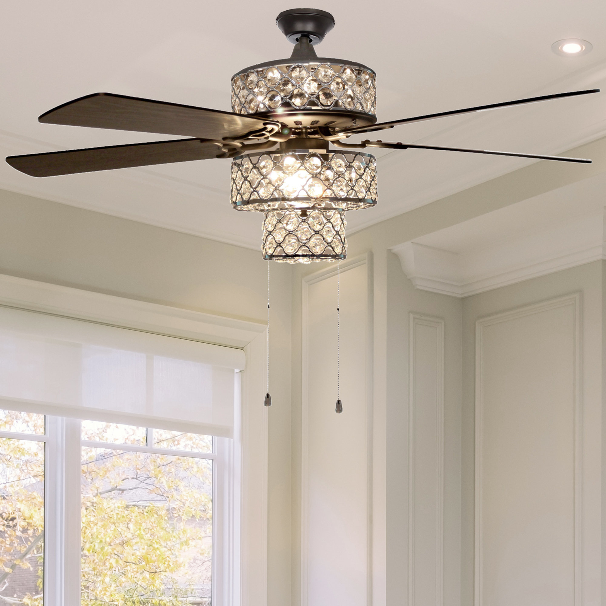 "Njie Caged Crystal 5 Blade Ceiling Fans For Recent 52"" Marleigh Tri Tiered 5 Blade Ceiling Fan With Remote, Light Kit Included (View 2 of 20)"