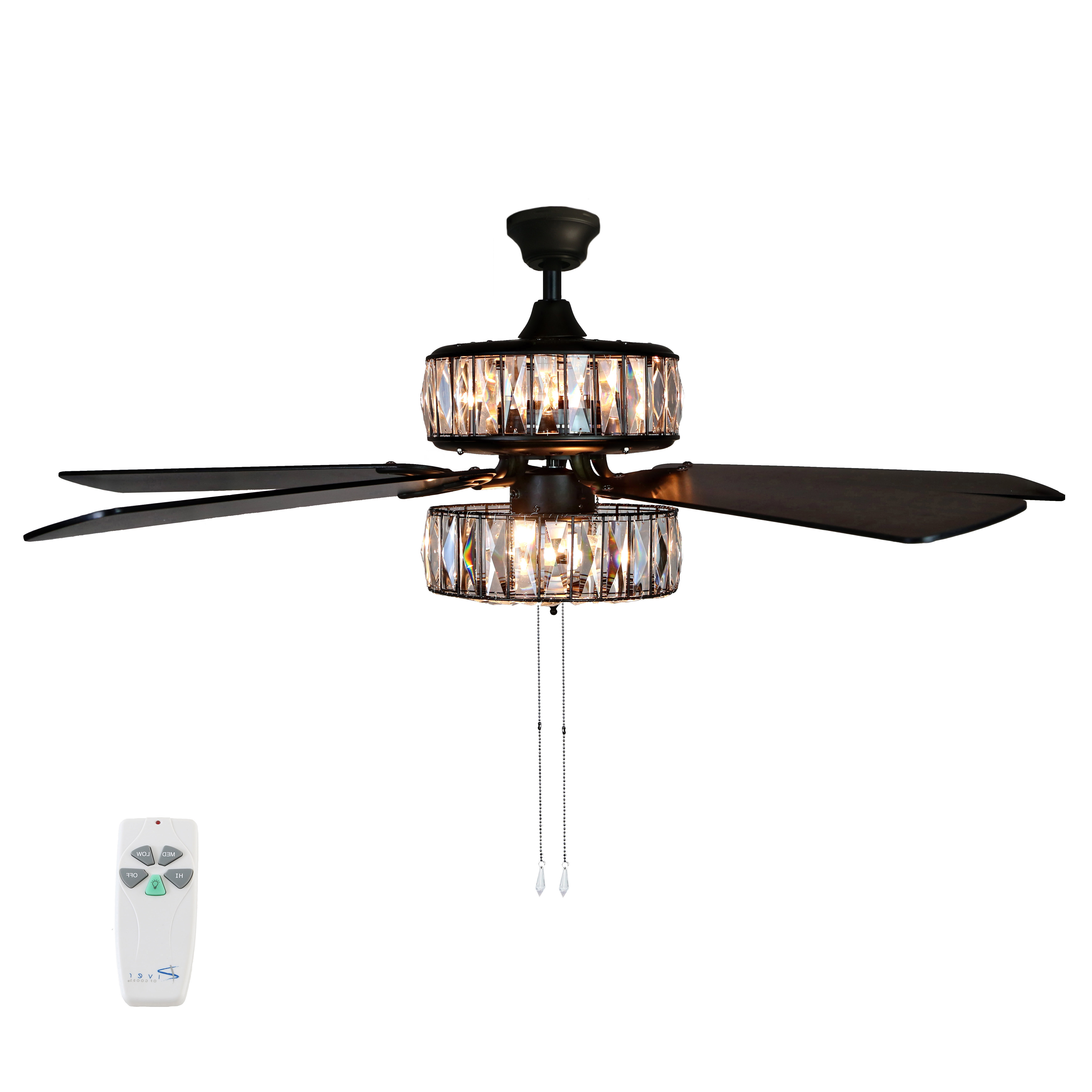 """Njie Caged Crystal 5 Blade Ceiling Fans Inside Latest River Of Goods 52""""w Caged Crystal 5 Blade Ceiling Fan With Remote (View 17 of 20)"""