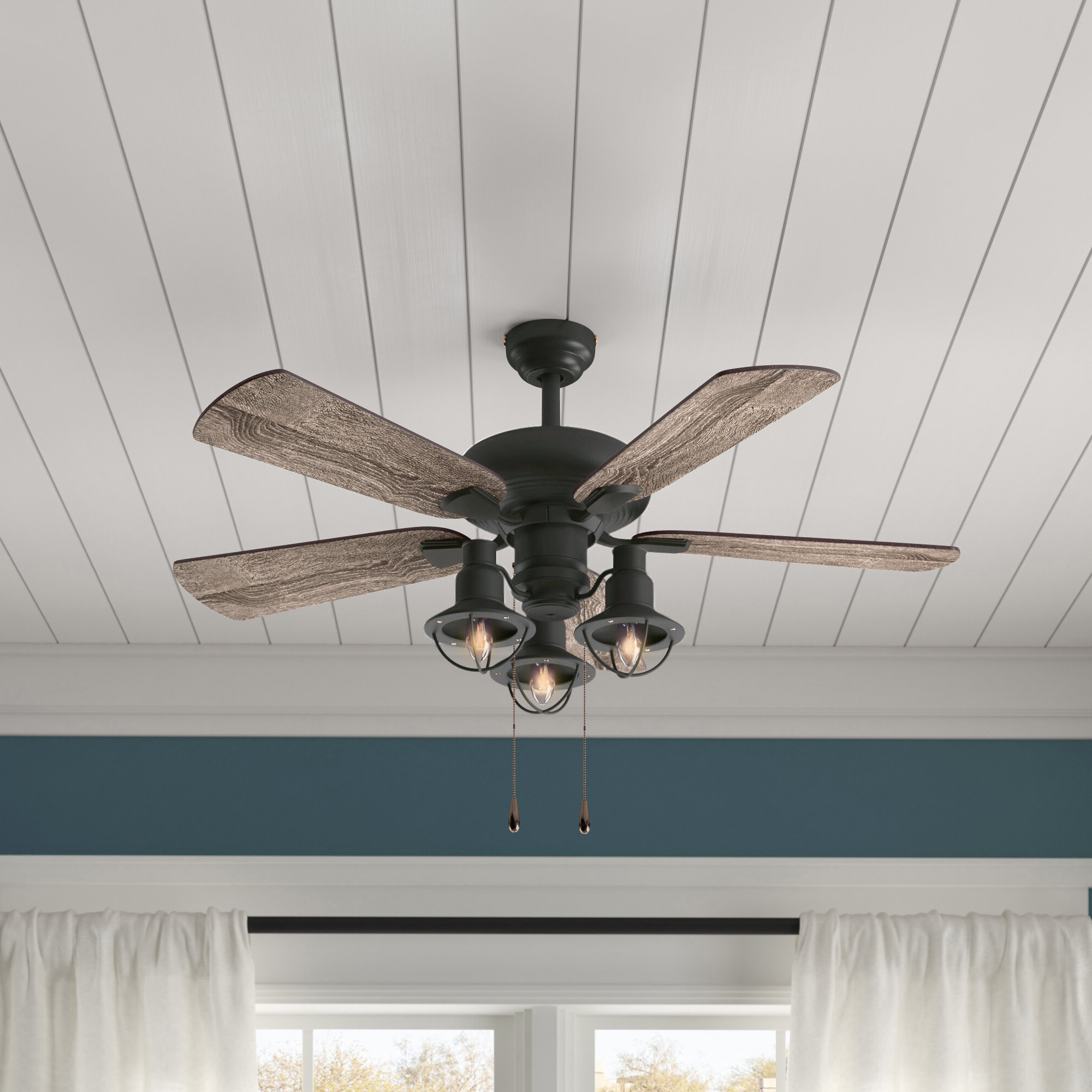 """Njie Caged Crystal 5 Blade Ceiling Fans Pertaining To Most Current 42"""" Raymer 5 Blade Led Ceiling Fan, Light Kit Included (View 18 of 20)"""