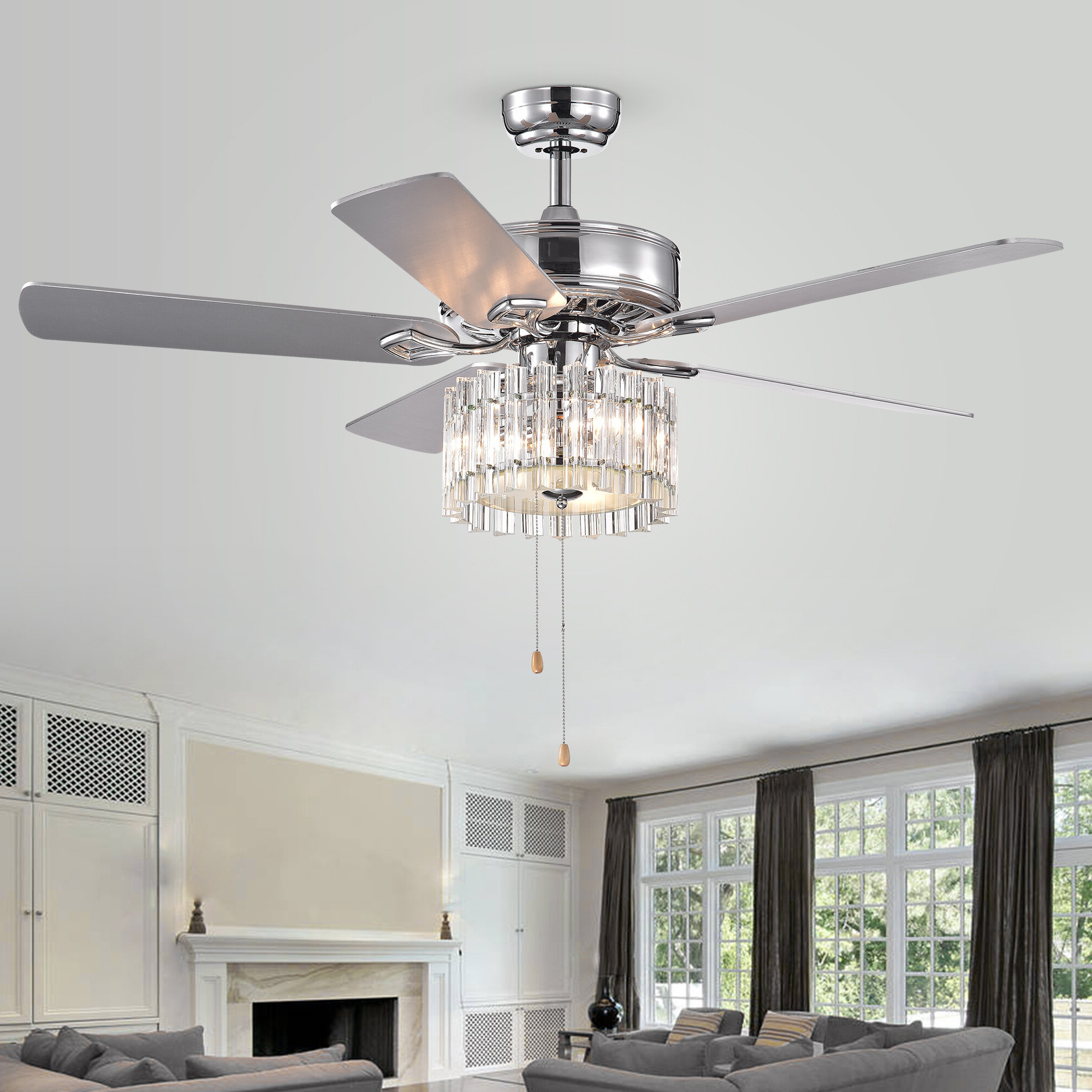 Njie Caged Crystal 5 Blade Ceiling Fans With Regard To Current Clark 5 Blade Ceiling Fan, Light Kit Included (View 14 of 20)