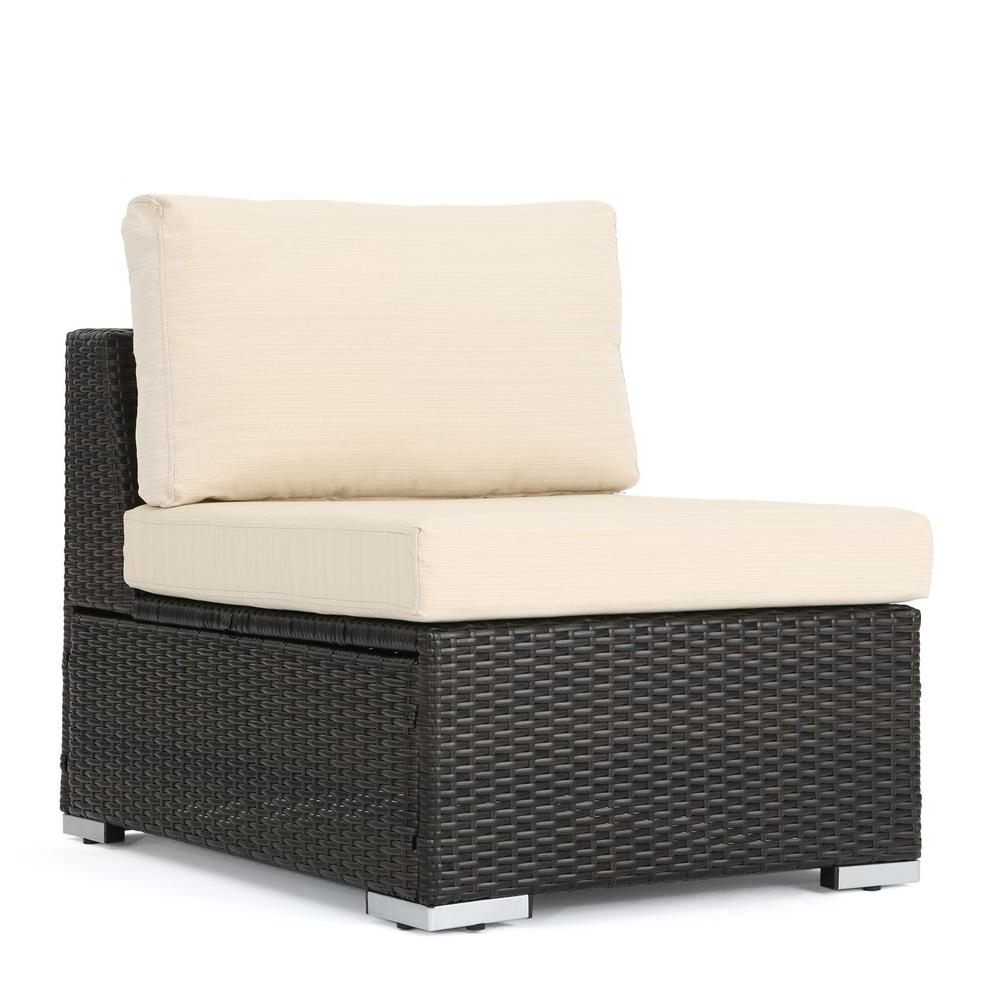 Noble House Nolan Multi Brown Wicker Armless Middle Outdoor Sectional Chair  With Beige Cushion In Widely Used Nolen Patio Sectionals With Cushions (View 4 of 20)