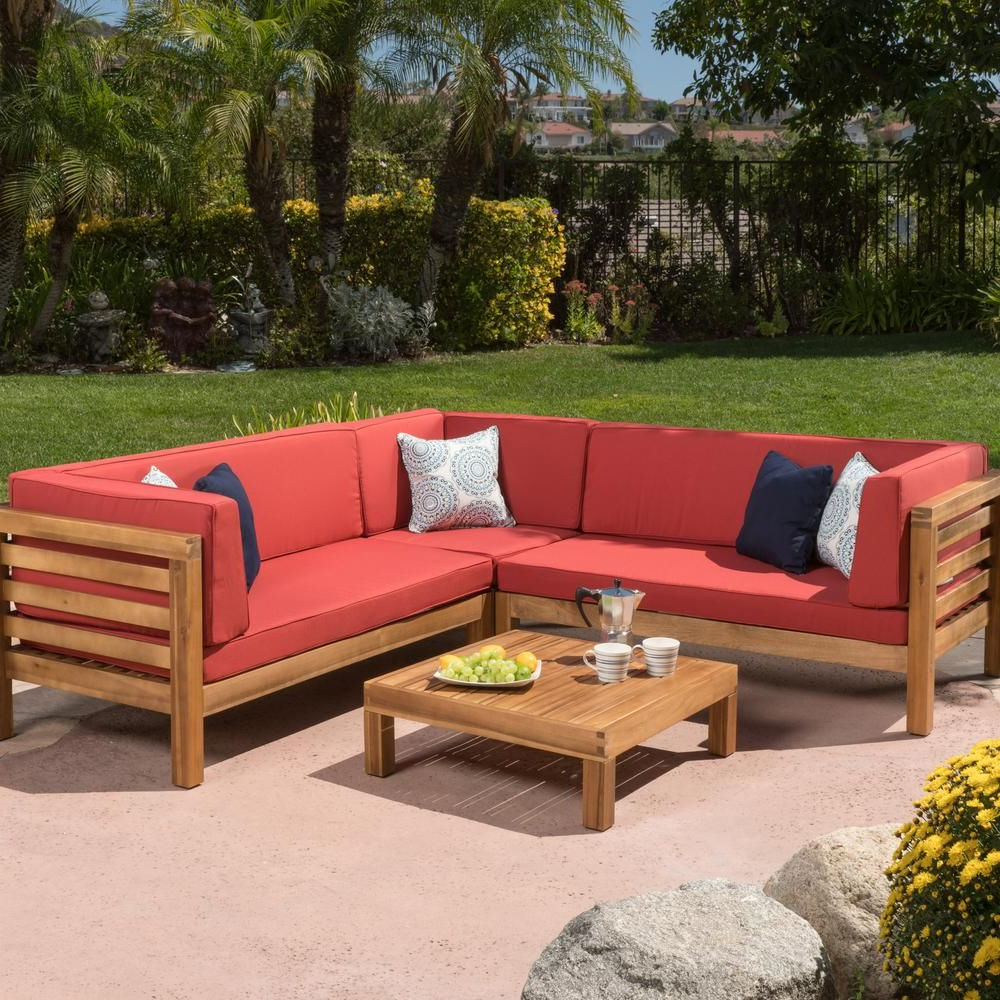 Noble House Oana Teak Finish 4 Piece Wood Outdoor Sectional Within Recent Seaham Patio Sectionals With Cushions (View 8 of 20)