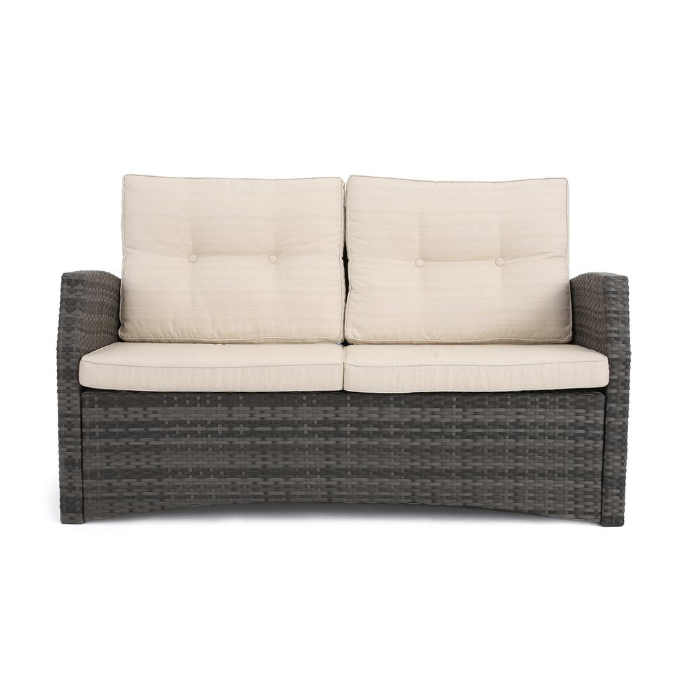 Noble House Sanger Gray Wicker Outdoor Loveseat With Beige Regarding Newest Clifford Loveseats With Cushion (View 16 of 20)
