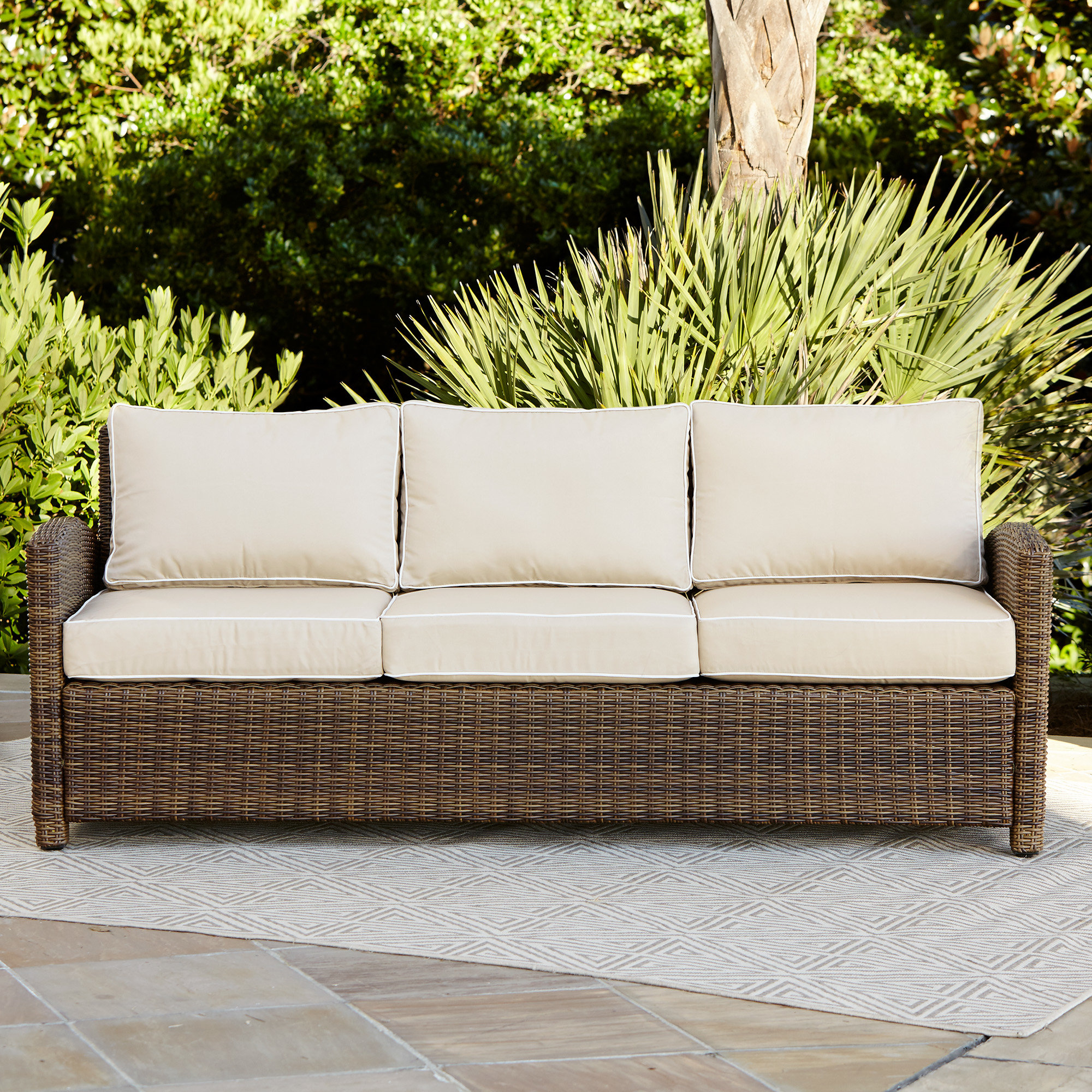 Nolen Patio Sectionals With Cushions For Well Known Lawson Patio Sofa With Cushions (View 7 of 20)