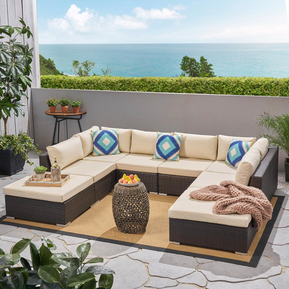 Nolen Patio Sectionals With Cushions In Well Known Noble House Nolan Multi Brown 8 Piece Wicker Outdoor Sectional With Beige  Cushions (View 8 of 20)