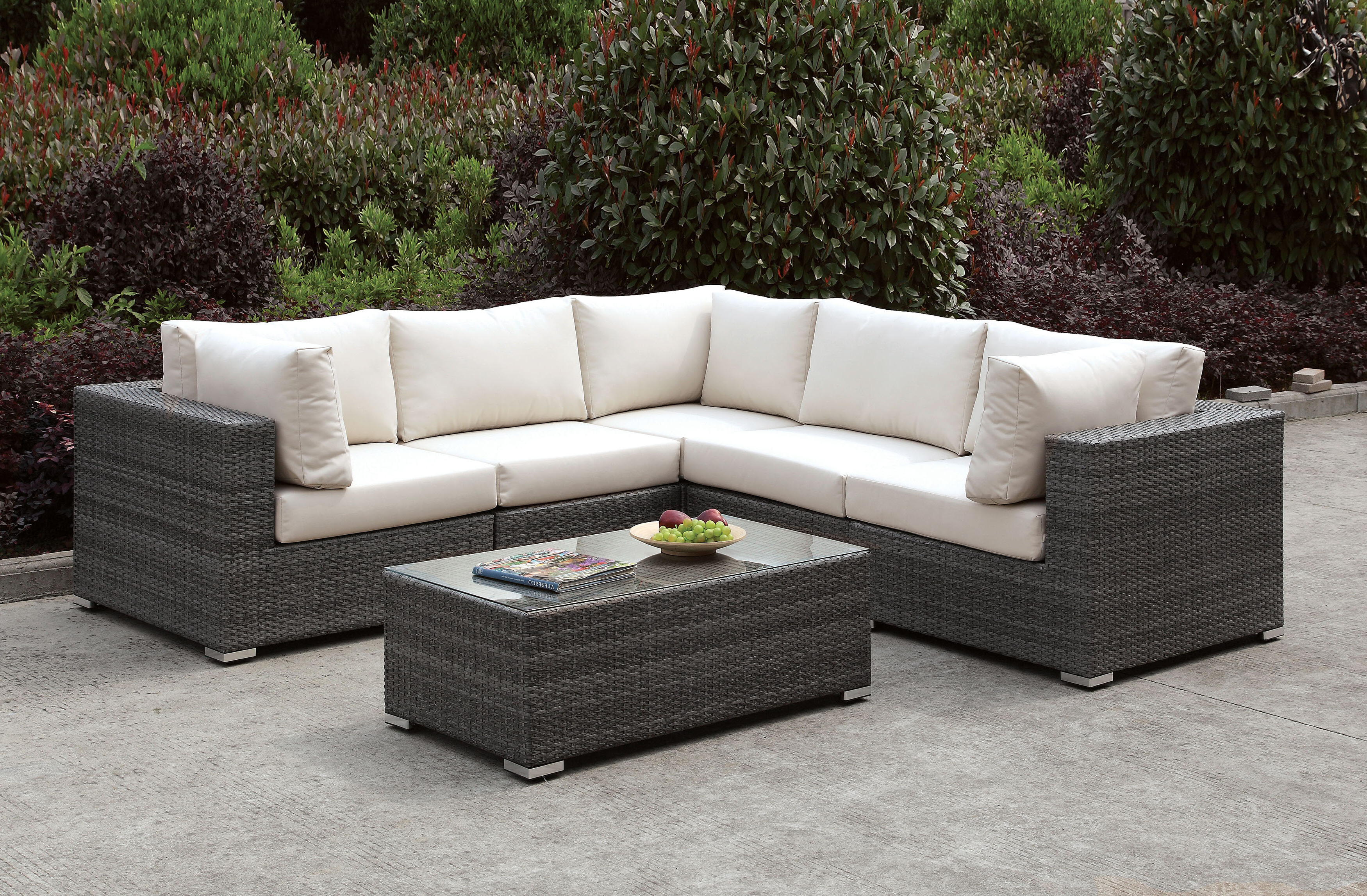 Nolen Patio Sectionals With Cushions With Regard To Popular Peters 7 Piece Patio Sectional With Cushions (View 13 of 20)