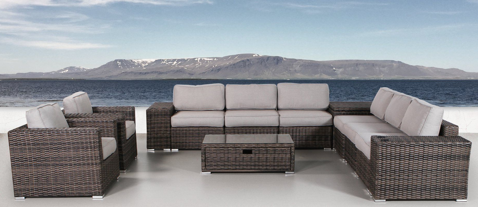 Nolen Patio Sectionals With Cushions Within Fashionable Nolen 12 Piece Rattan Sectional Seating Group With Cushions (View 14 of 20)