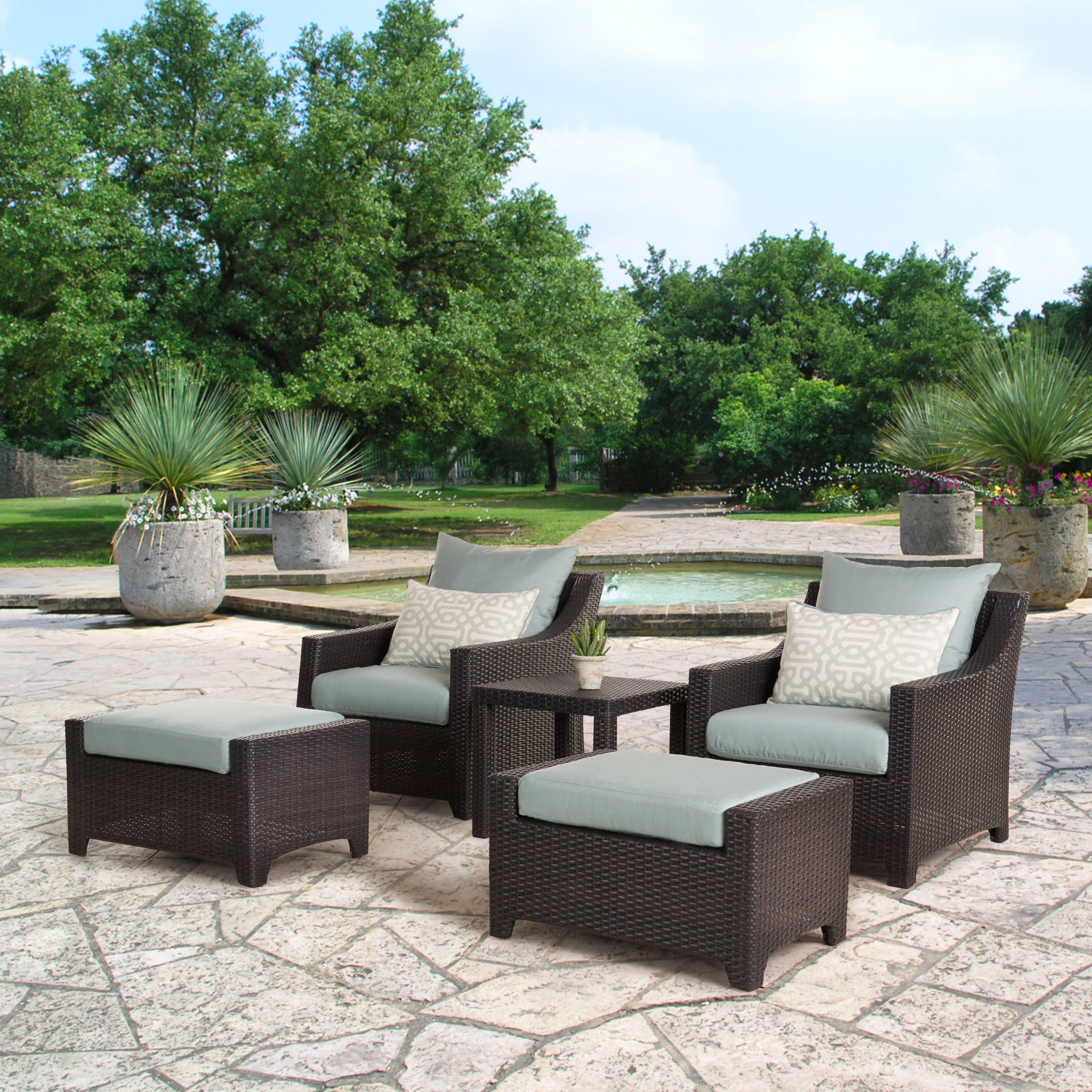 Northridge 5 Piece Conversation Set With Cushions With Regard To Best And Newest Northridge Patio Sofas With Sunbrella Cushions (View 7 of 20)