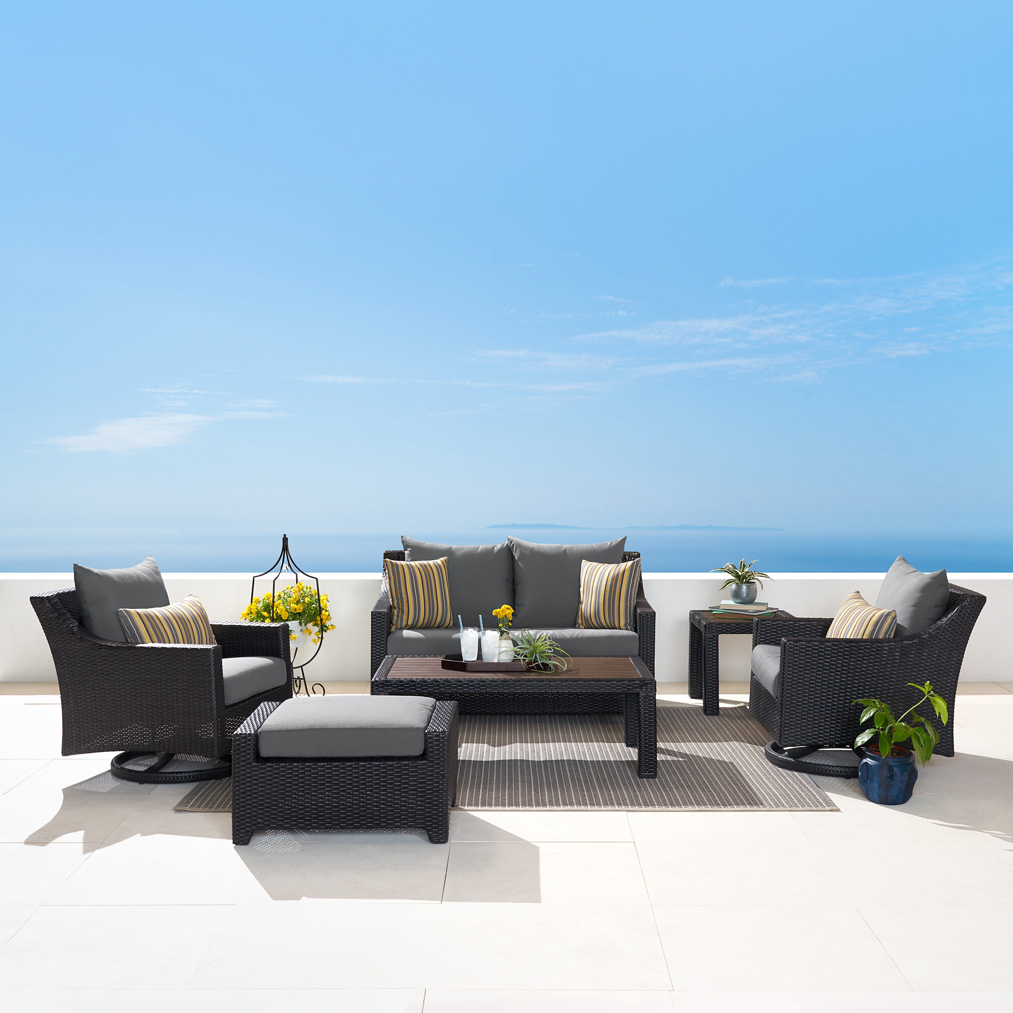 Northridge 6 Piece Sunbrella Sofa Set With Cushions Inside Current Northridge Patio Sofas With Sunbrella Cushions (View 9 of 20)