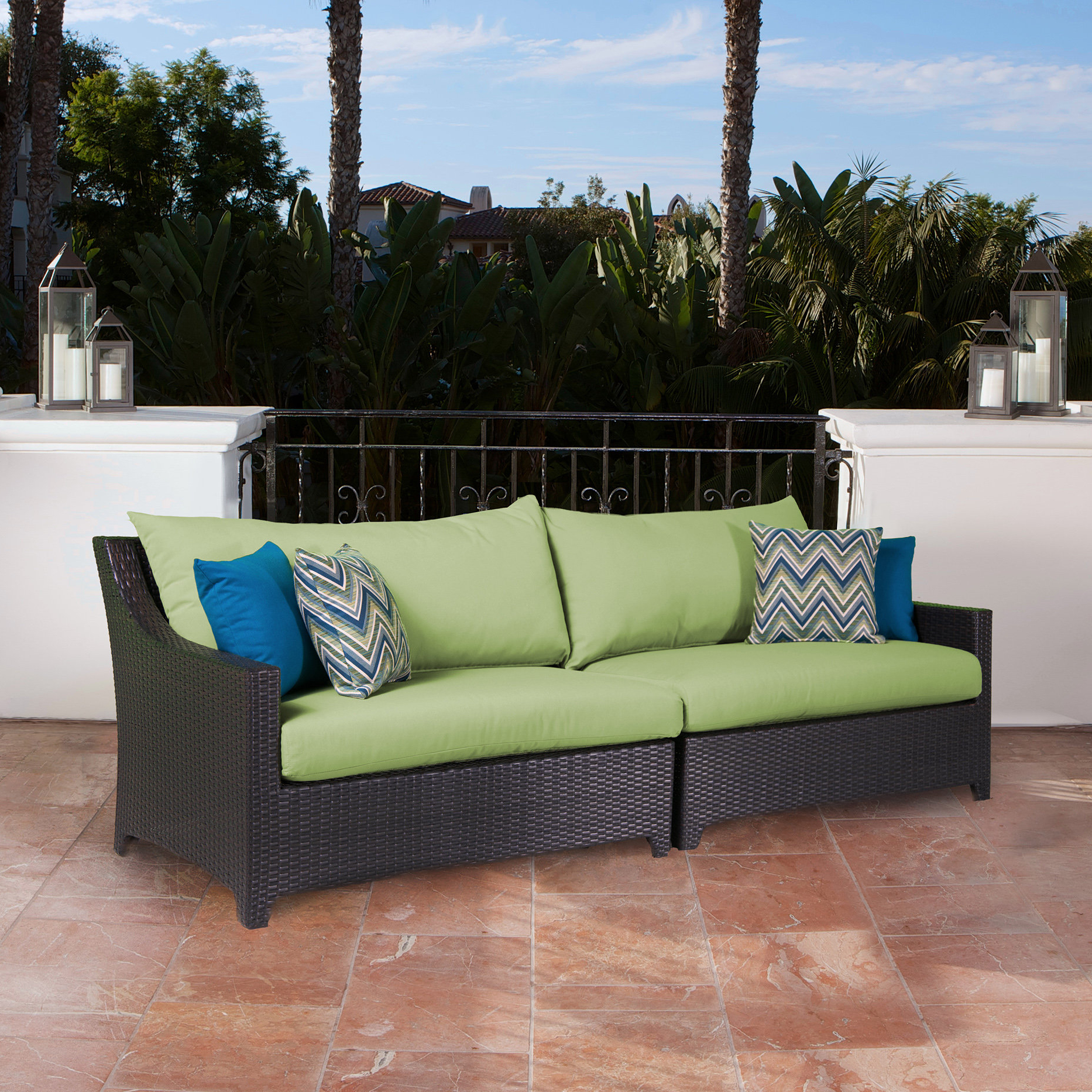 Northridge Patio Sofa With Sunbrella Cushions Within Widely Used Jamarion 4 Piece Sectionals With Sunbrella Cushions (View 12 of 20)