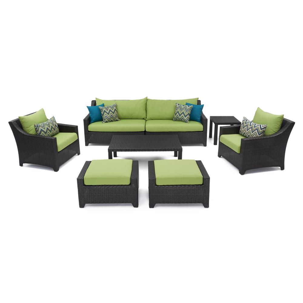 Northridge Patio Sofas With Sunbrella Cushions With Regard To Most Recently Released Rst Brands Deco 8 Piece All Weather Wicker Patio Sofa And Club Chair  Seating Set With Bliss Blue Cushions (View 15 of 20)
