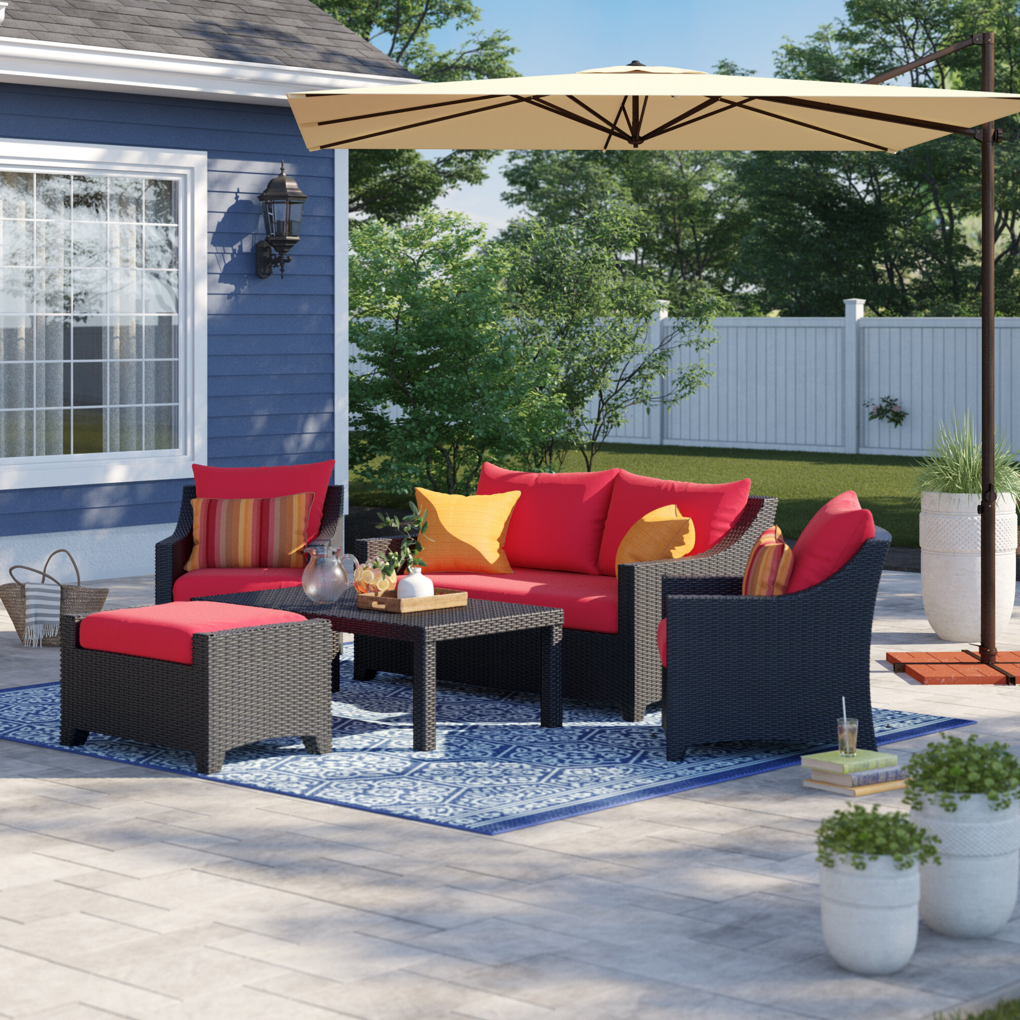 Northridge Patio Sofas With Sunbrella Cushions Within 2019 Northridge 5 Piece Sunbrella Sofa Set With Cushions (View 17 of 20)