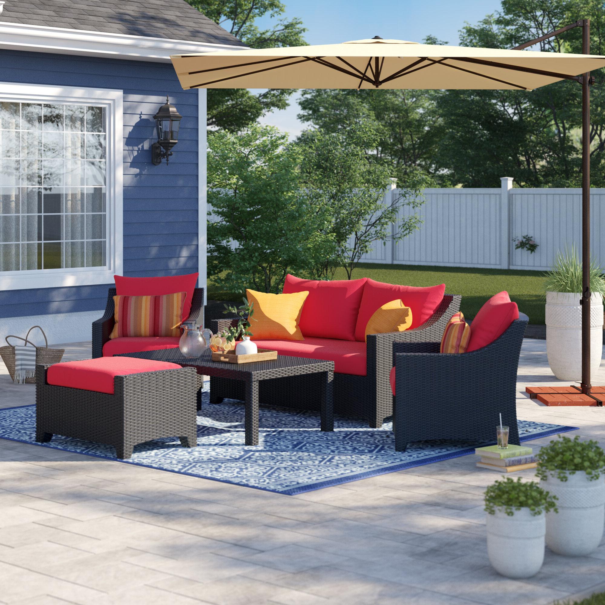 Northridge Patio Sofas With Sunbrella Cushions Within 2019 Northridge 5 Piece Sunbrella Sofa Set With Cushions (View 12 of 20)