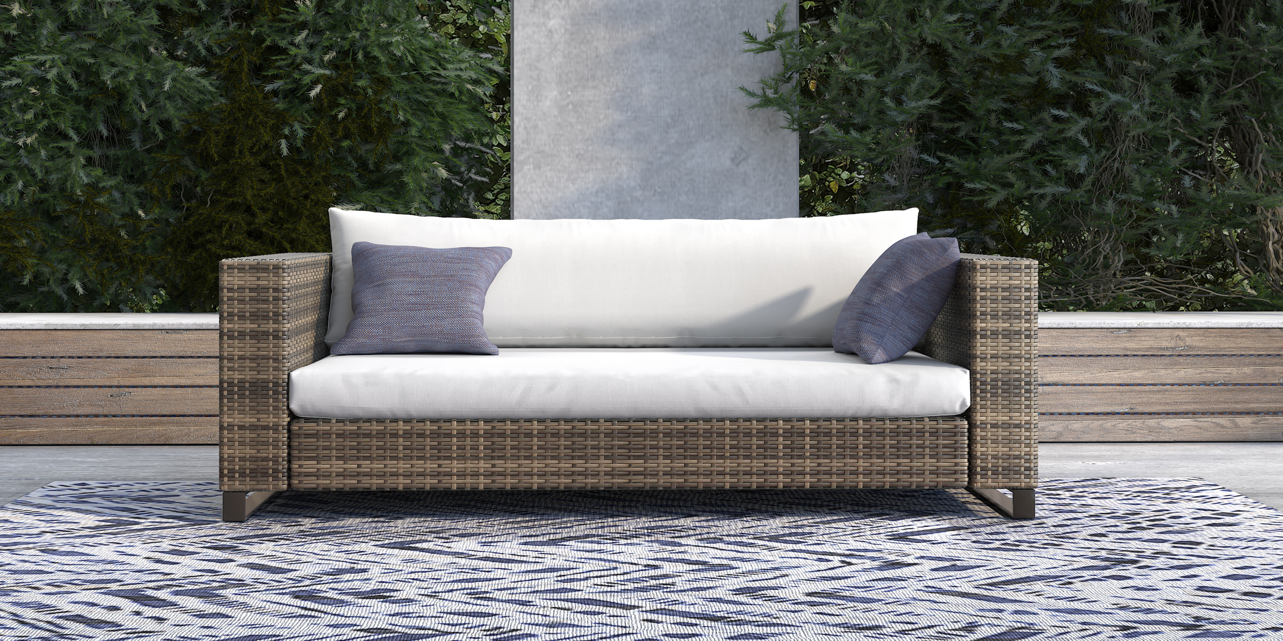 Oceanside Outdoor Wicker Loveseat With Cushions For Most Current Newbury Patio Sofas With Cushions (Gallery 9 of 20)