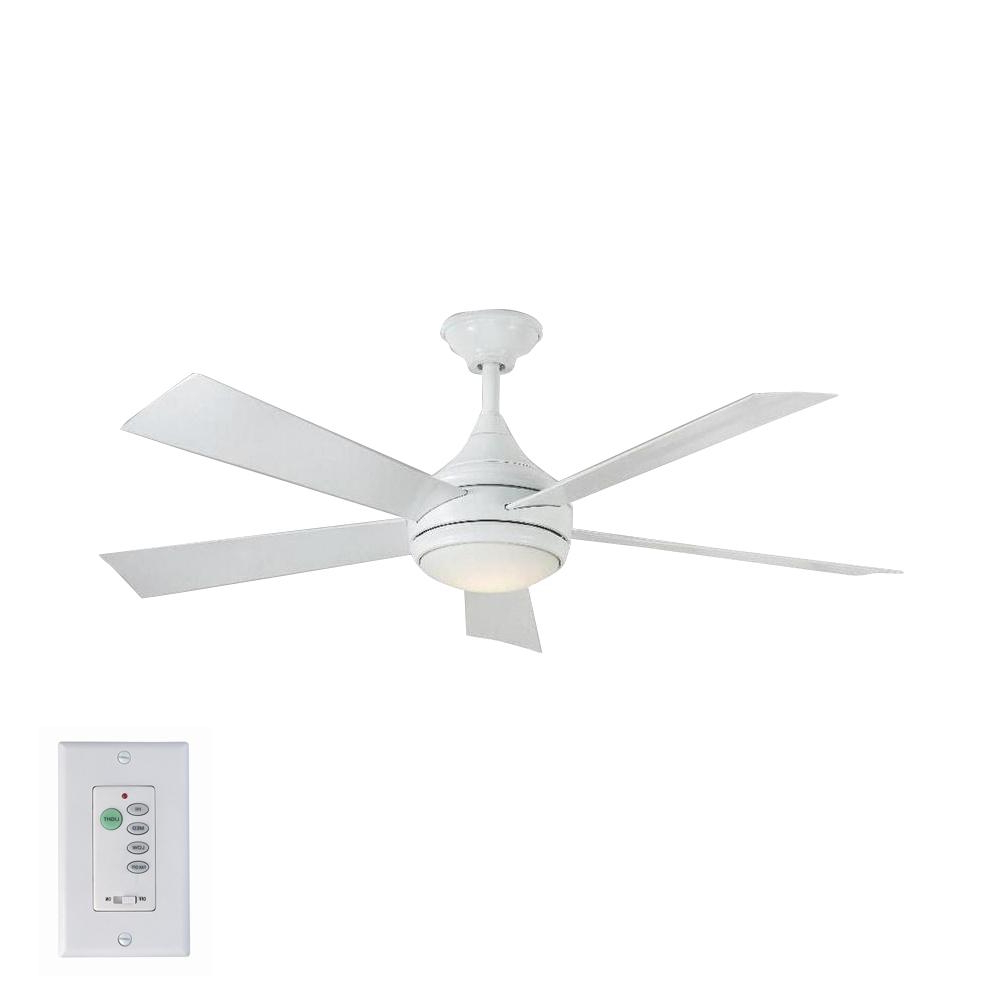 O'hanlon 5 Blade Led Ceiling Fans Regarding Current Home Decorators Collection Hanlon 52 In. Integrated Led Indoor/outdoor Stainless Steel Ceiling Fan With Light Kit And Wall Control (Gallery 13 of 20)