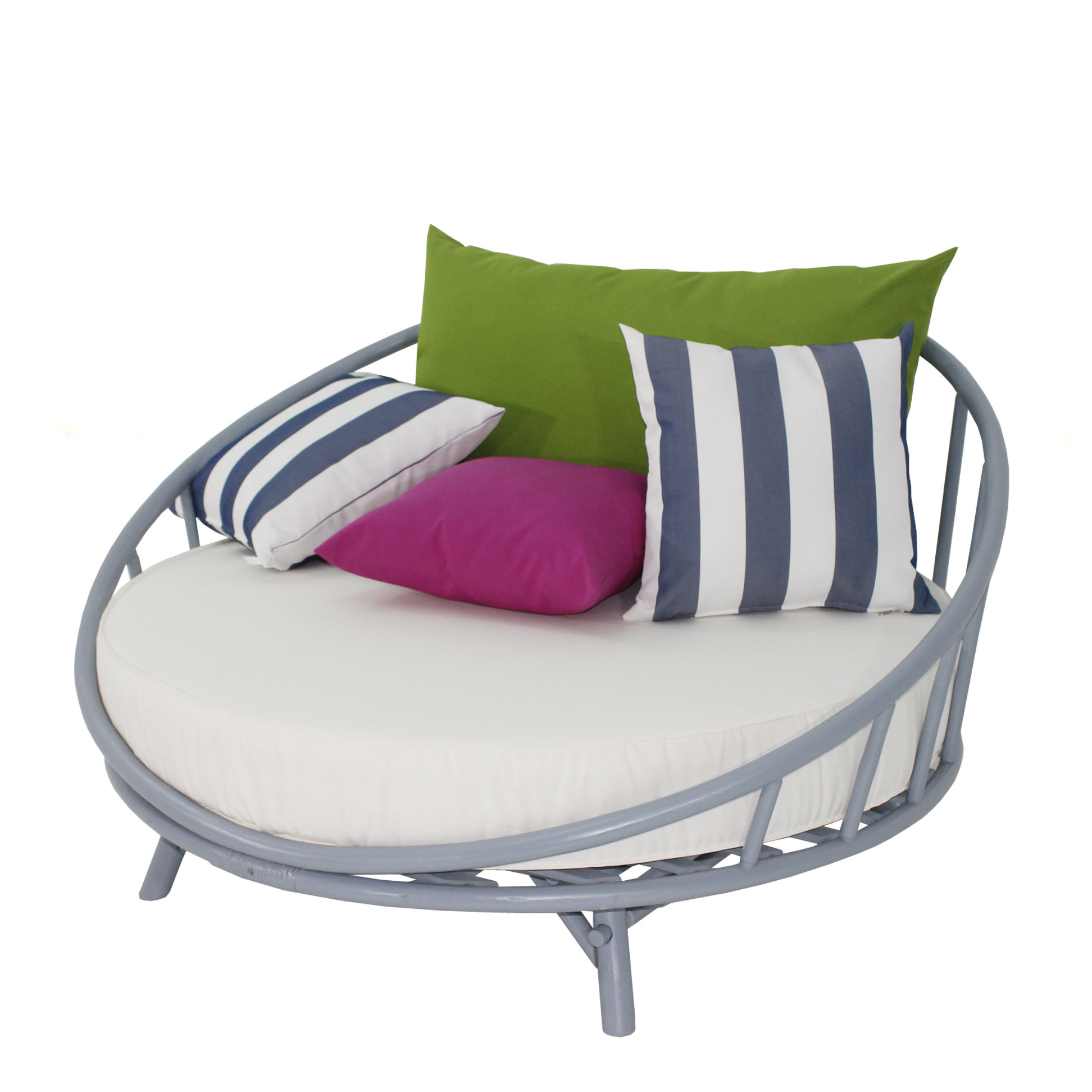 Olu Bamboo Large Round Patio Daybed With Cushions Intended For Famous Aubrie Patio Daybeds With Cushions (View 11 of 25)