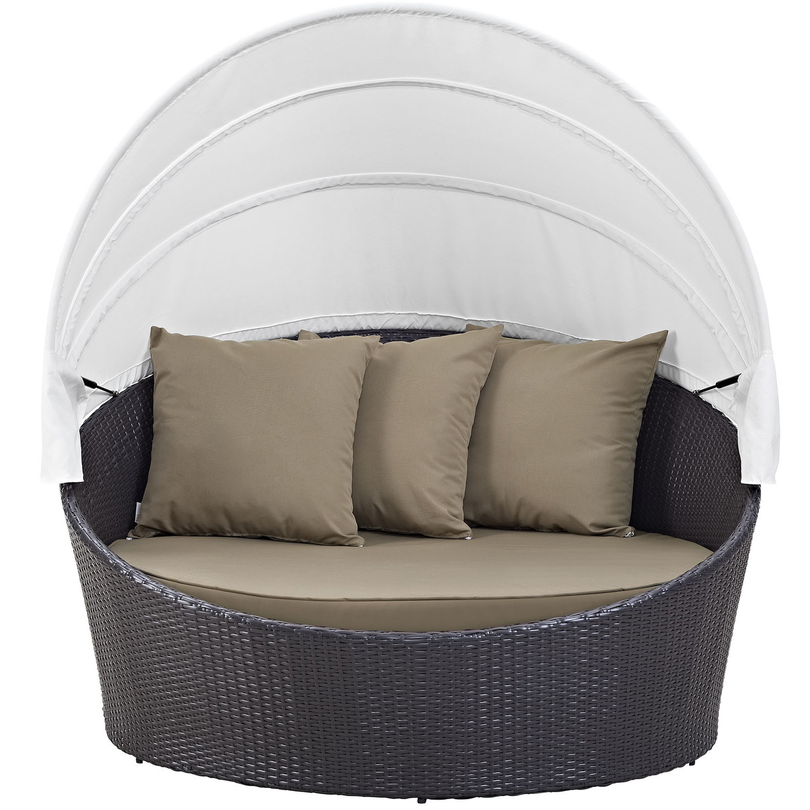 Olu Bamboo Large Round Patio Daybeds With Cushions Pertaining To Trendy Brentwood Canopy Patio Daybed With Cushions (View 6 of 20)