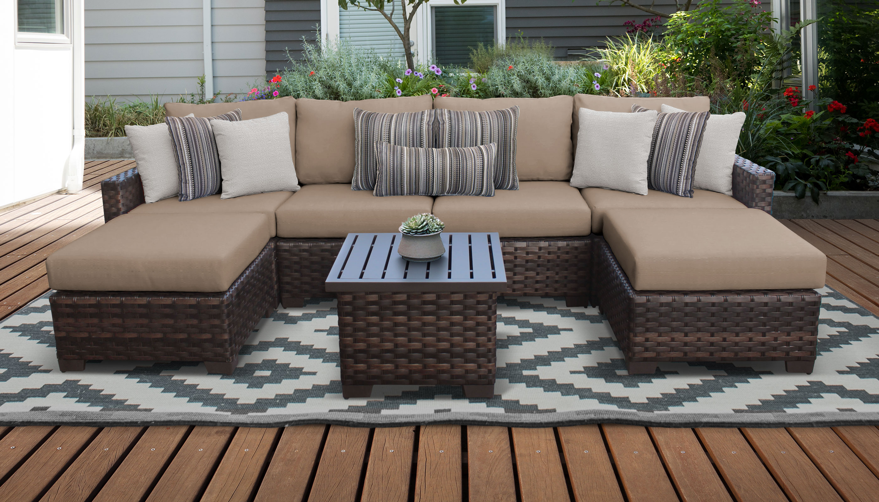 Oreland Patio Sofas With Cushions Inside Favorite River 7 Piece Outdoor Wicker Patio Furniture Set 07A (View 13 of 20)